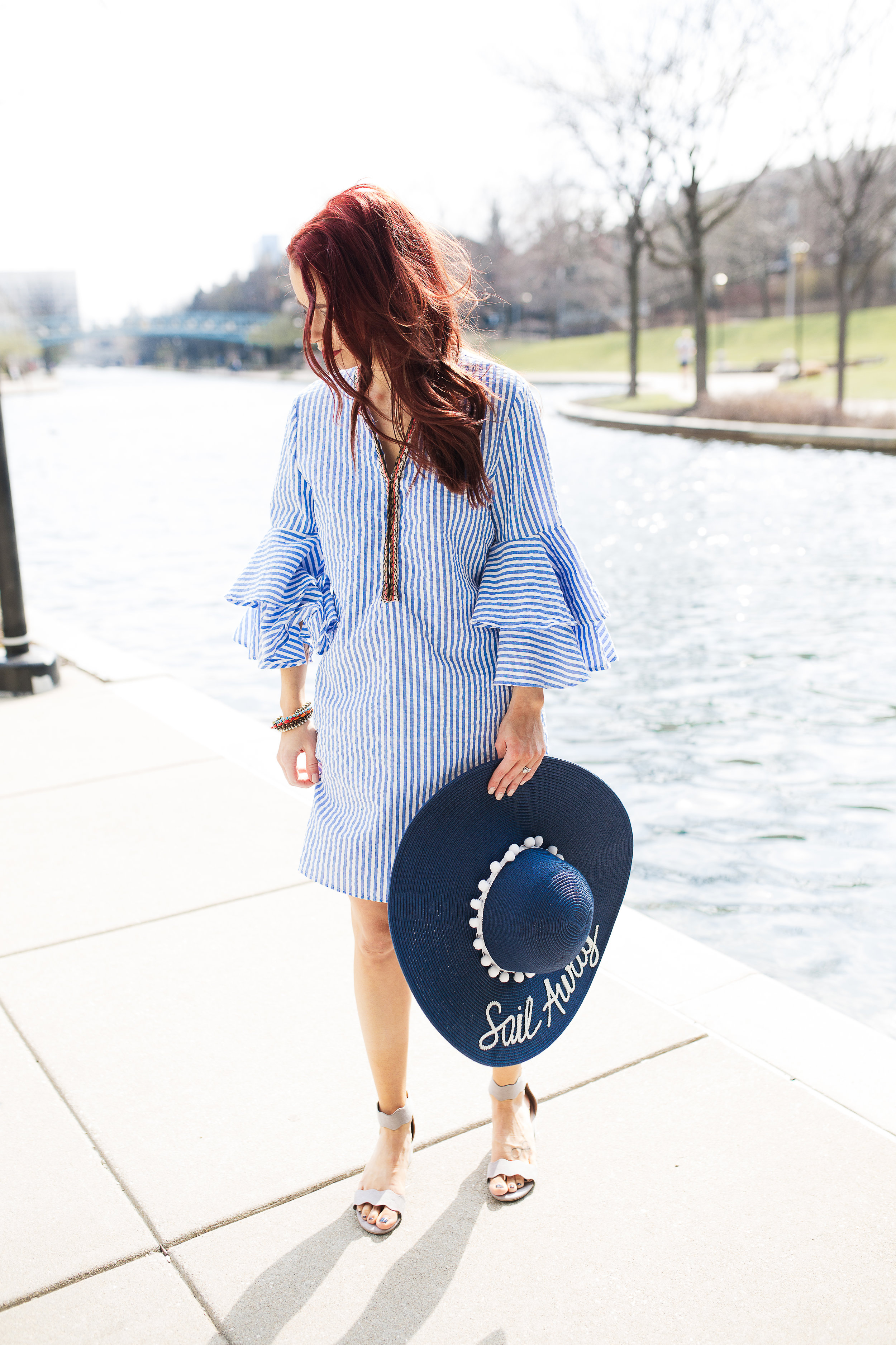 Striped Dress,  Red Dress Boutique  || Sail Away Hat,  By Born and Made  || Grey Sandals,  Red Dress Boutique  || Bracelets,  Pura Vida Bracelets (use code TRENDYININDY20 for 20% off) || Photography,  Casey Ardizzone