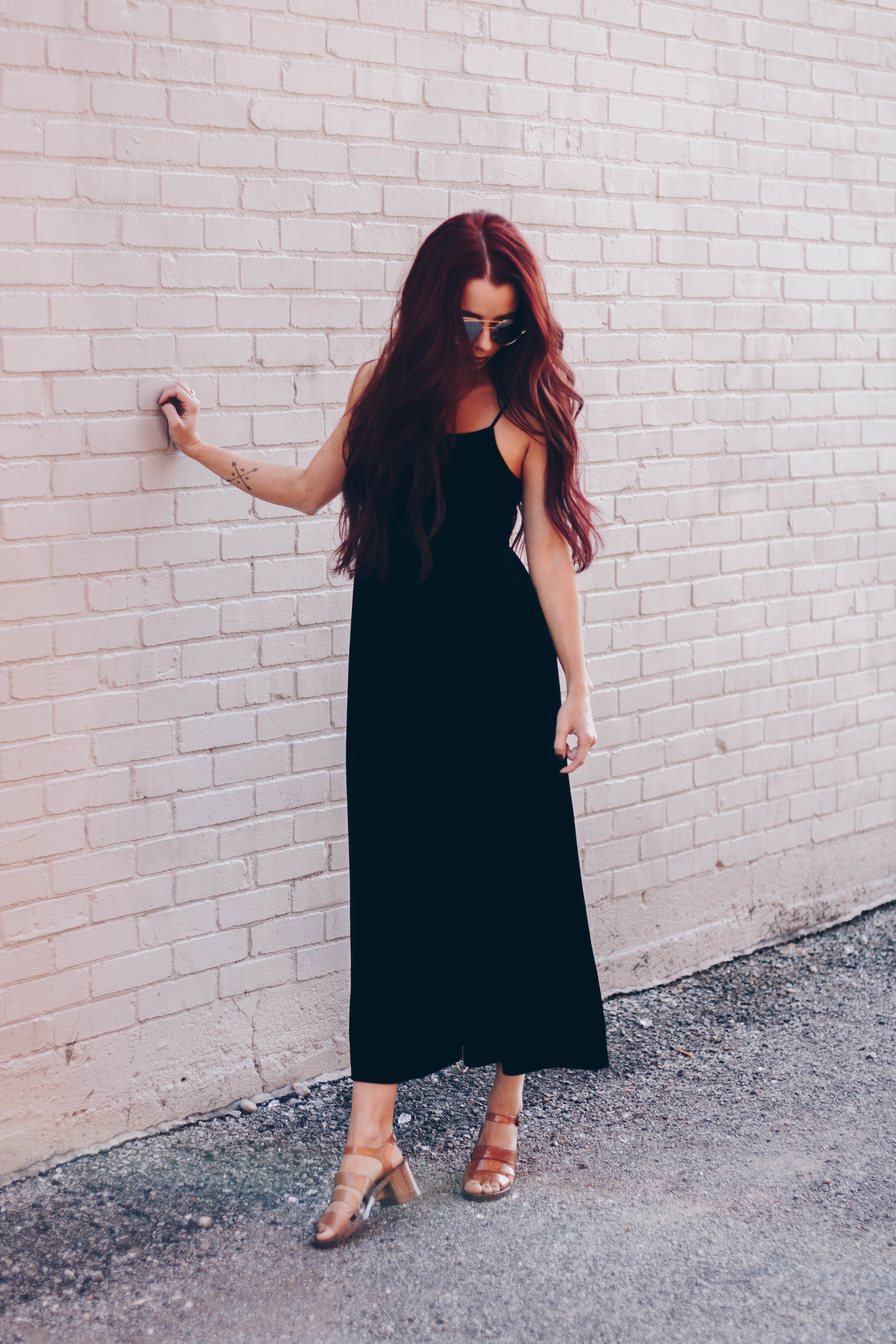 Velvet Jumpsuit,  Urban Outfitters  || Jelly Shoes,  Urban Outfitters  || Hair Extensions,  Extensions by Marie  || Sunglasses,  Nordstrom