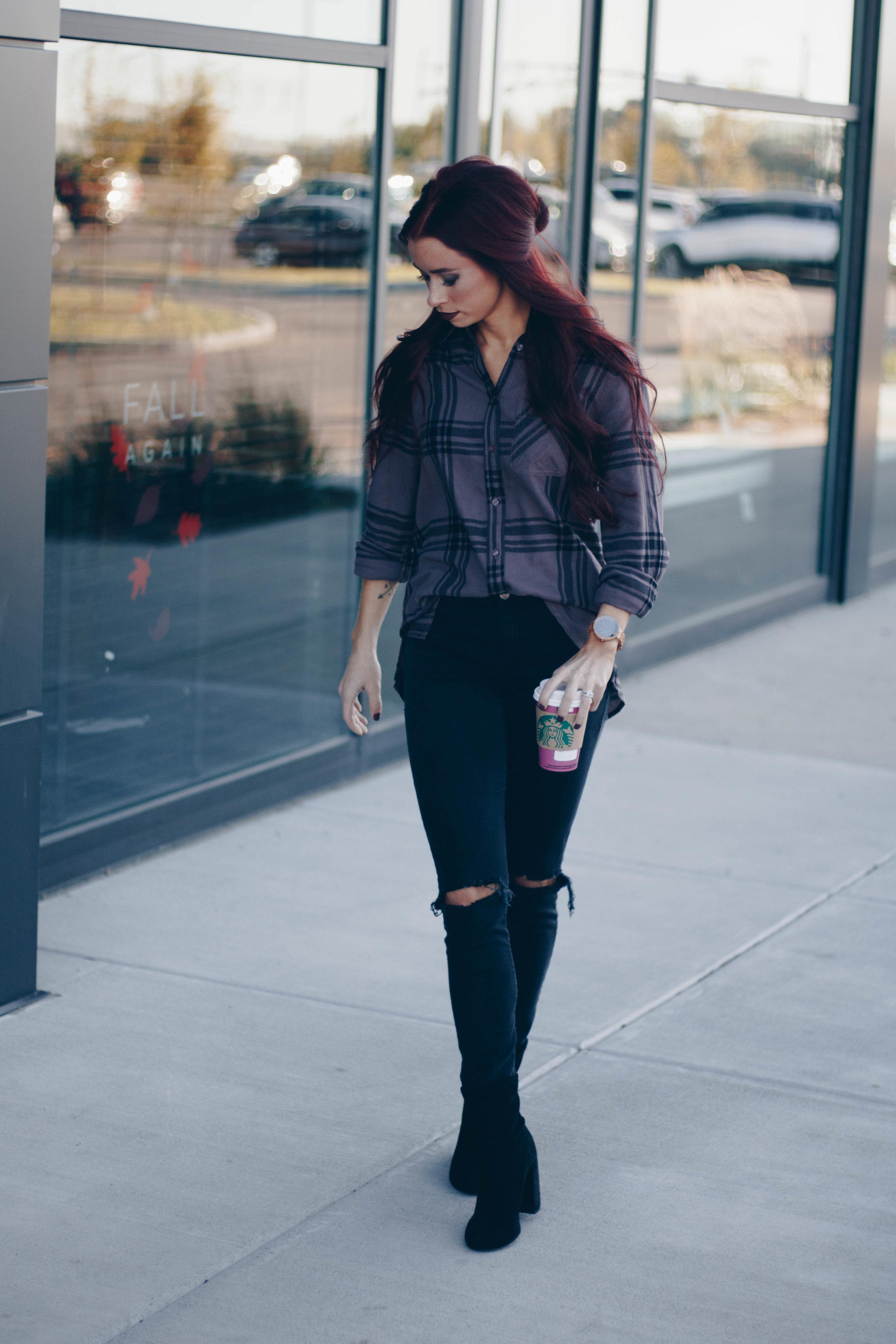 Flannel Shirt  ||  JORD Watch (Use code TRENDYININDY50 for $50 off) ||  Black Denim  ||  Black Booties  ||  Makeup