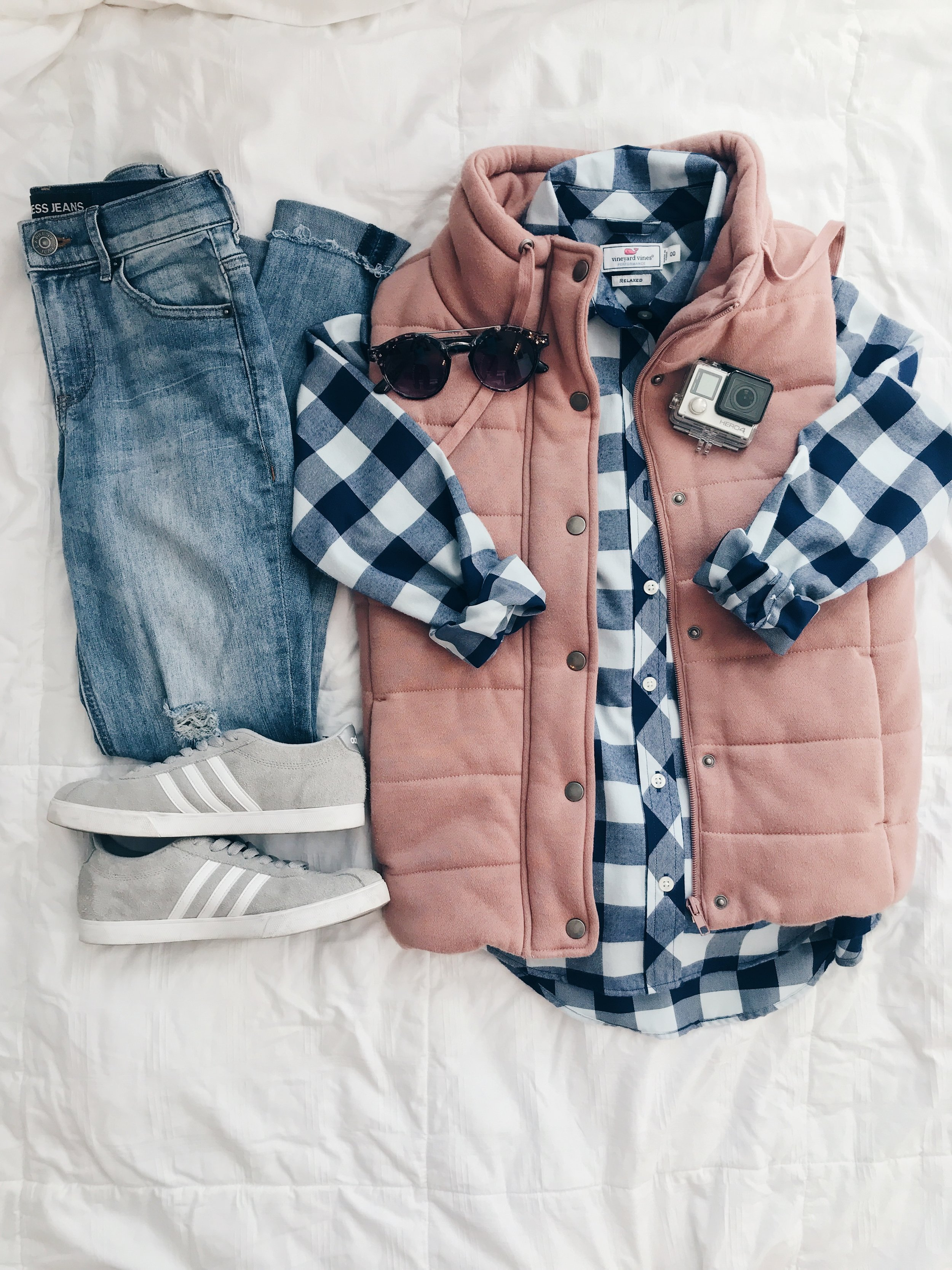 - Vest(Click here for black or here for wine, too) || Flannel(this one is from Vineyard Vines, but click here for one from Magnolia) || Jeans || Adidas Sneakers || Sunglasses*Use the code TRENDY10 for 10% off October 2 - October 9 at Magnolia Boutique.