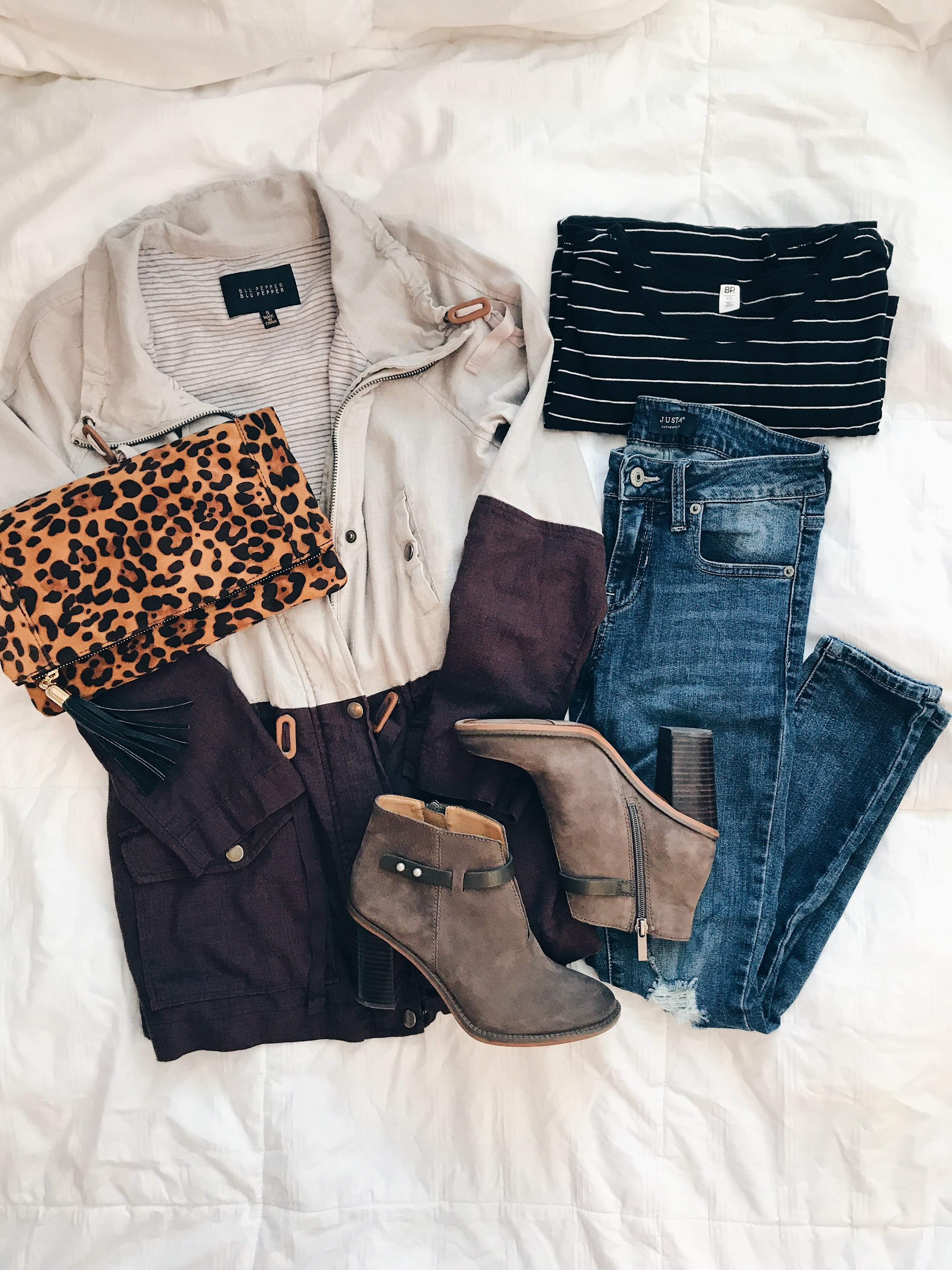 - Jacket || Clutch || Jeans || Striped Top || Booties*Use the code trendyinindy15 for 15% off your purchase at Sweet Olive.