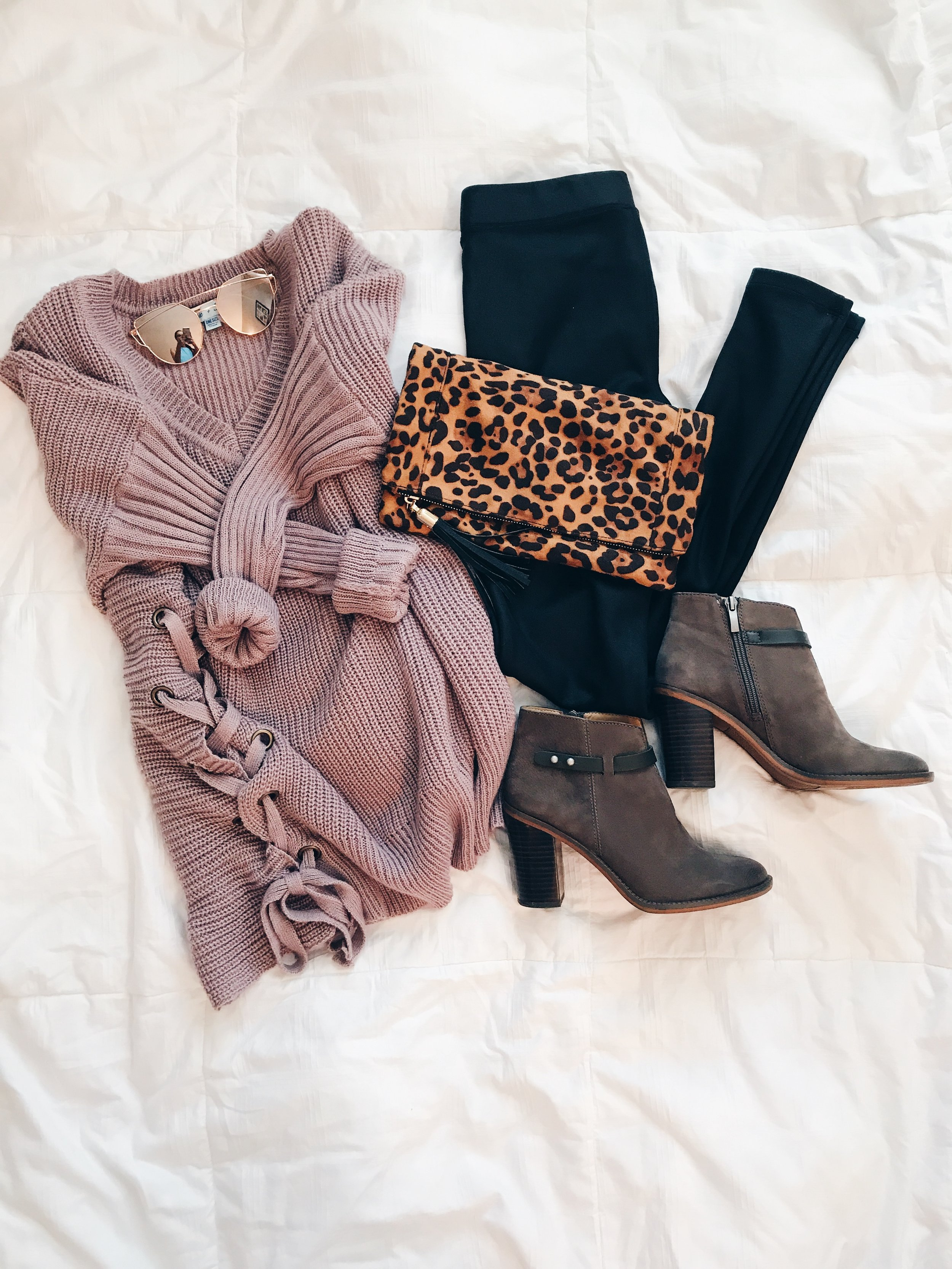 - Sweater || Leather Leggings || Booties || Clutch || Sunglasses*Use the code trendyinindy15 for 15% off your purchase at Sweet Olive.