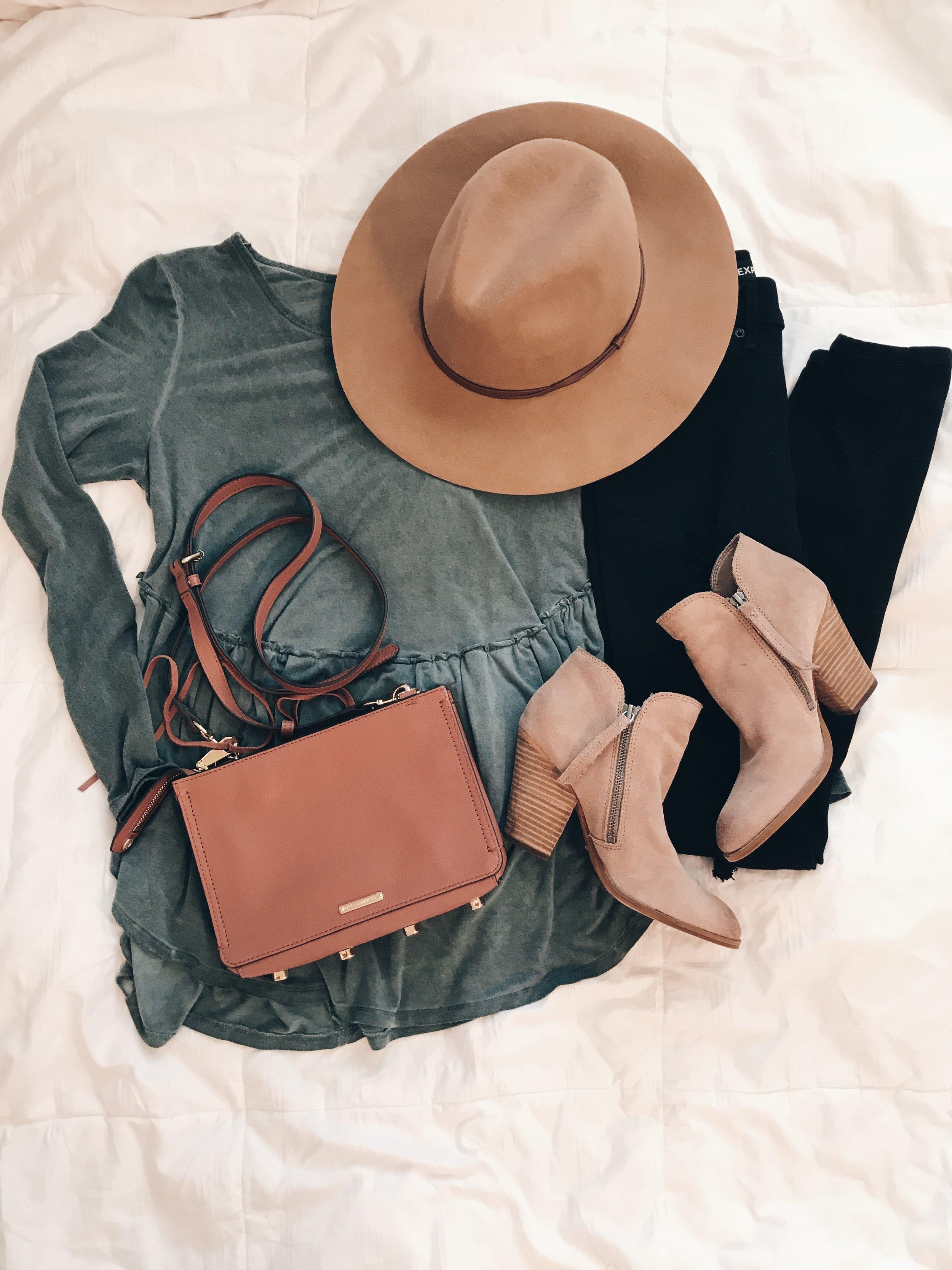 - Top || Hat || Black Jeans || Crossbody || Booties