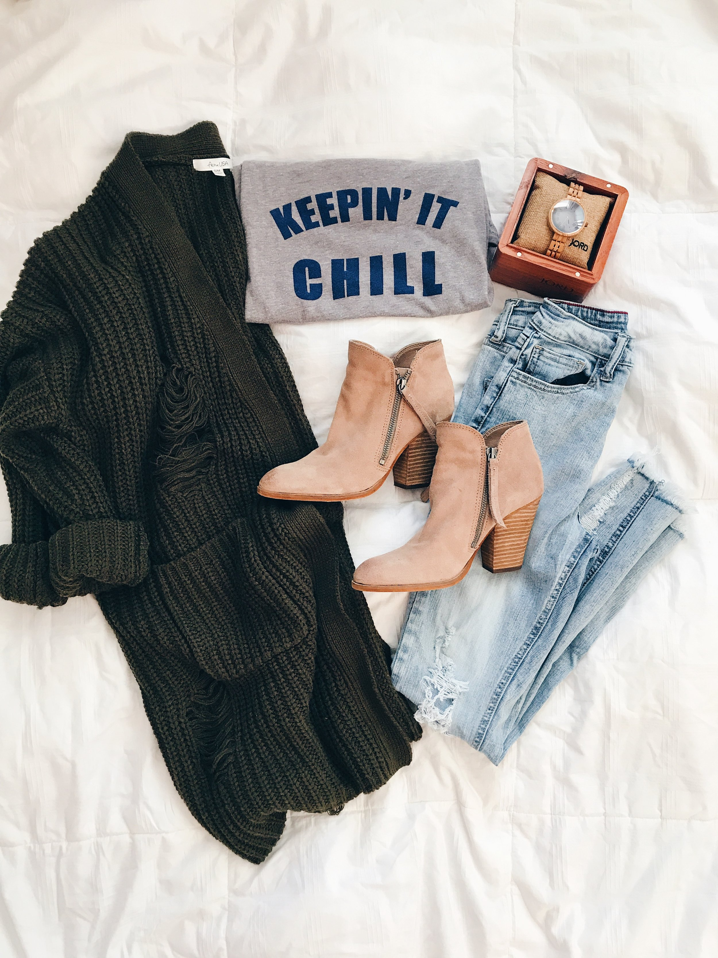- Sweater (Will be restocked October 8) || Top(Call to order) || JORD Watch || Jeans || Booties