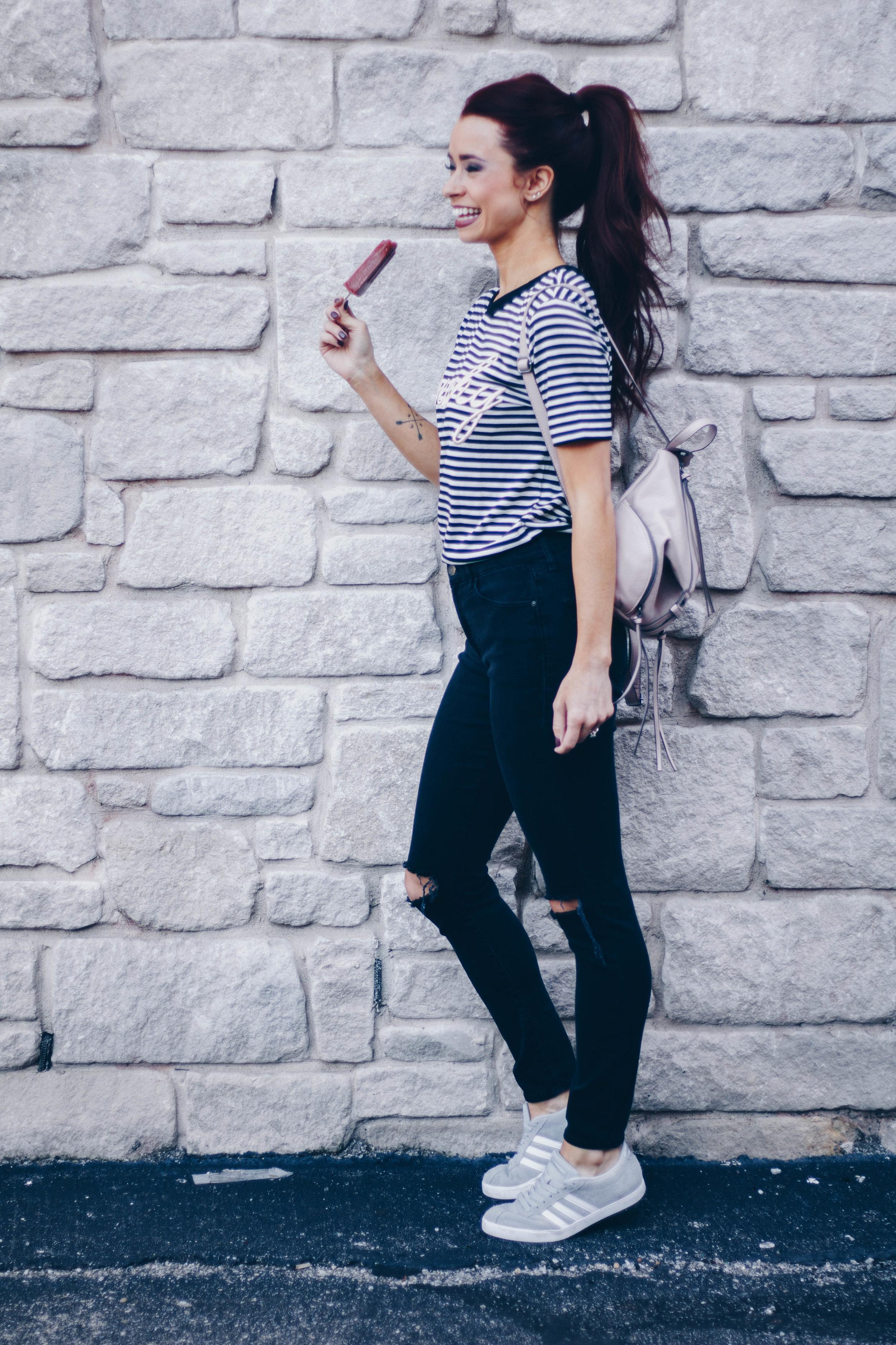 Peachy Top  ||  Favorite Black Jeans  ||  Adidas Kicks