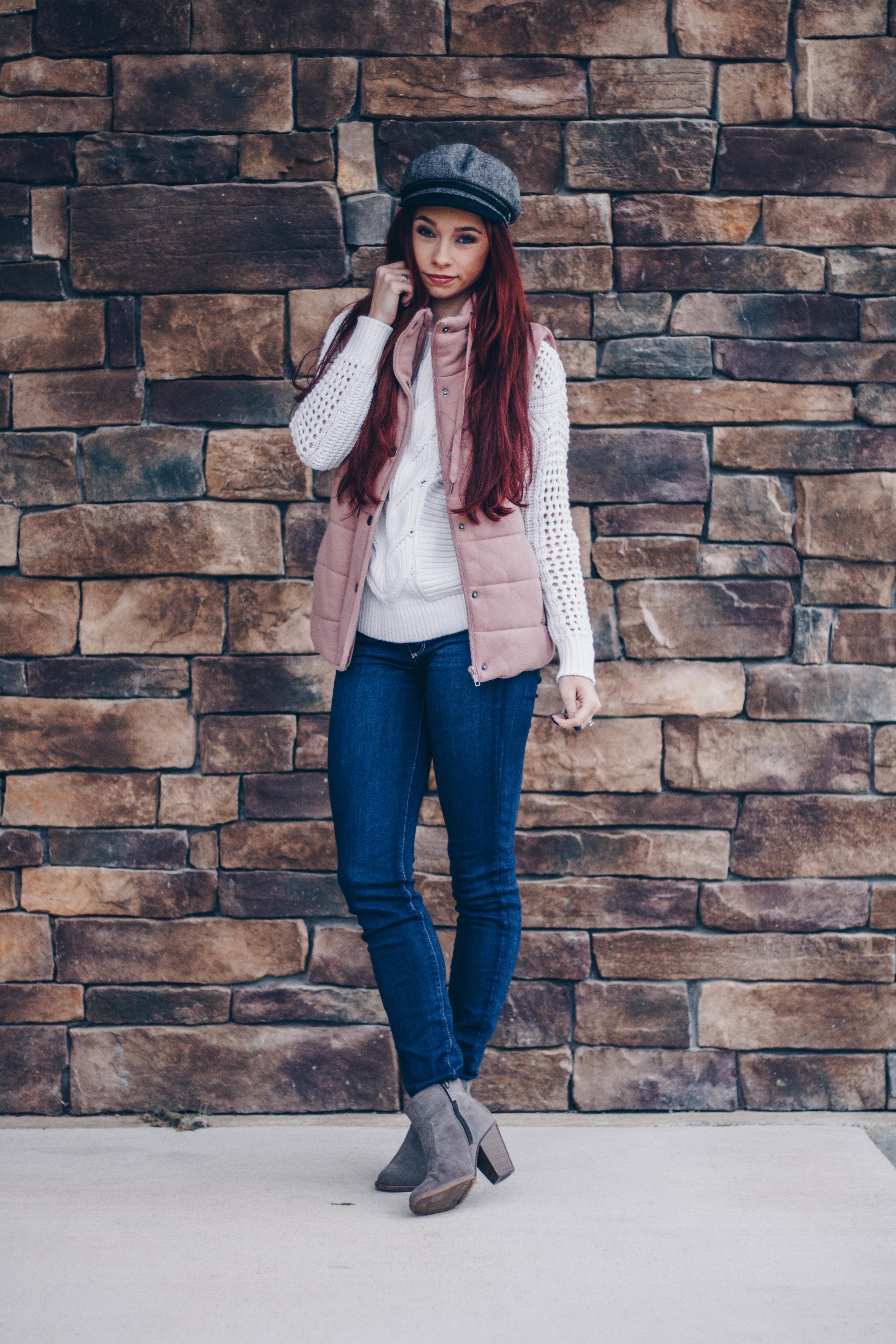 Cream sweater  here ,  here , and  here  ||  Dusty Pink Vest  ||  Grey Booties  ||  Dark Denim  ||  Fiddler Hat