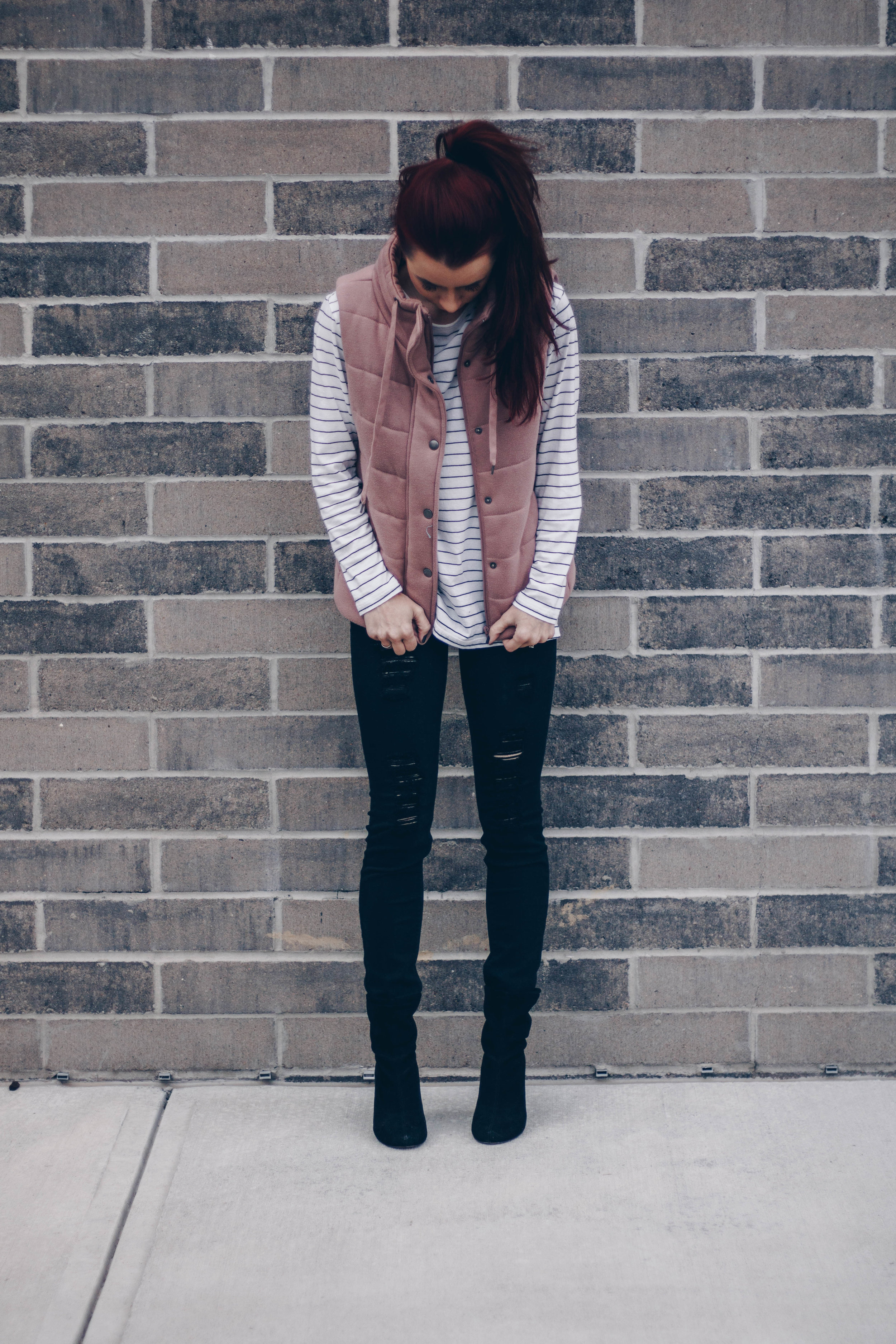 Pink Vest Styled 3 Ways by Indianapolis fashion blogger Trendy in Indy