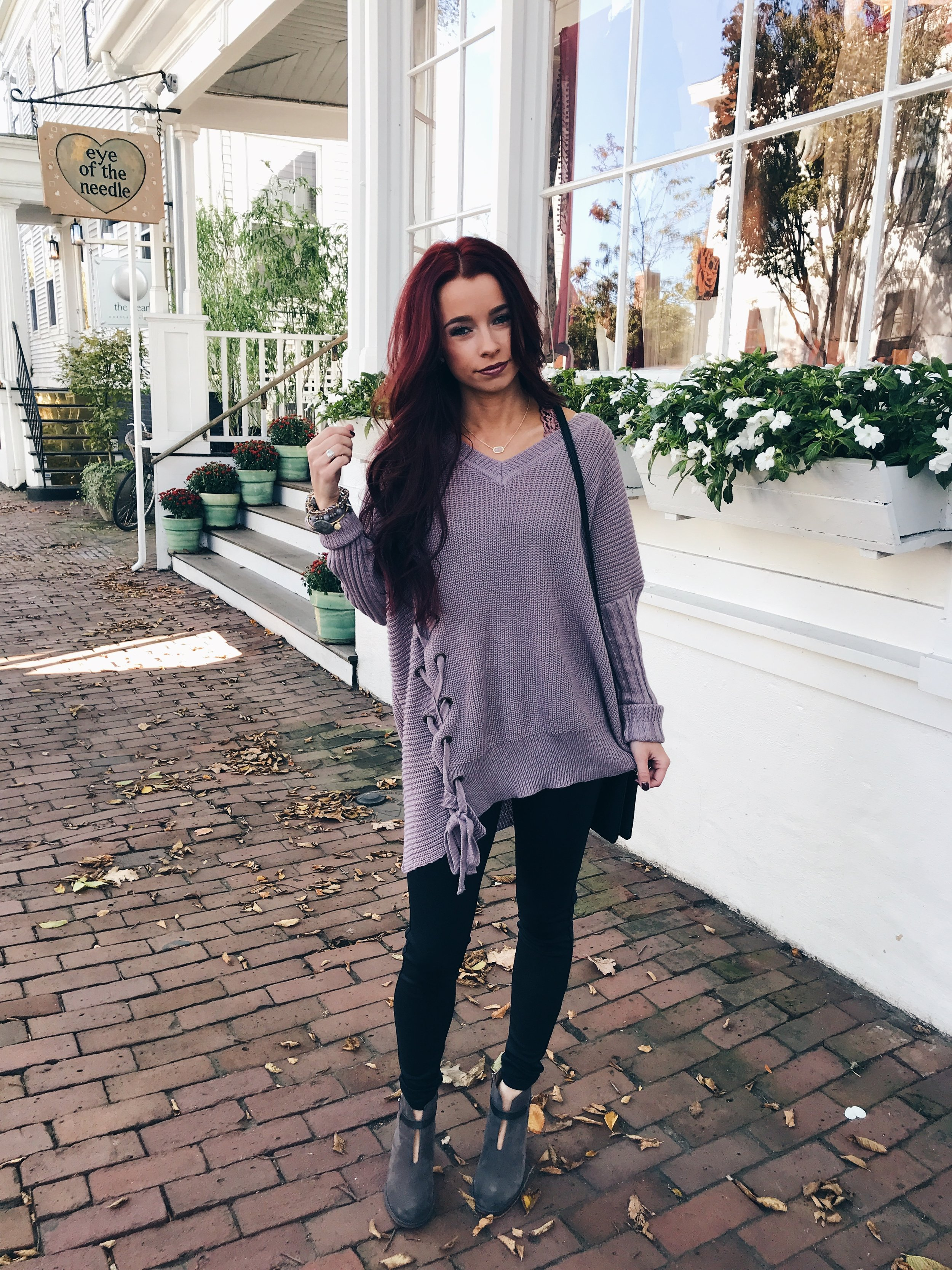 This lilac sweater actually gives me life from  Sweet Olive . I love the lace detailing and that I can wear it with leggings. Pro tip: find sweaters long enough to wear with leggings. You'll thank yourself later. Code is TRENDYININDY15.