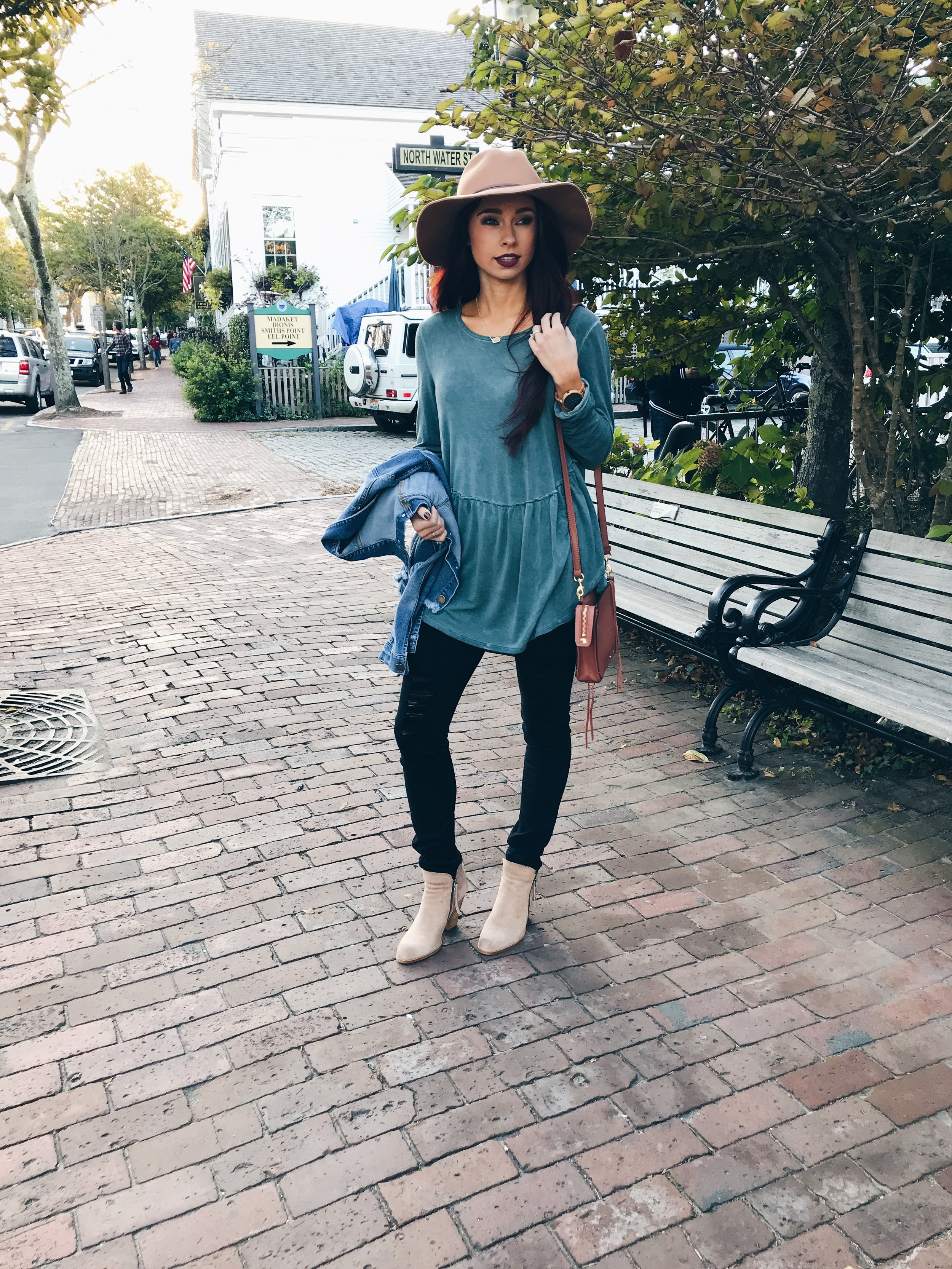Everyone needs a basic long sleeve in their life. This has a cool hem from  She is Boutique . Adding a hat can do so much for an outfit. I paired with a light color bootie to tie in the hat. Code is STEPH10