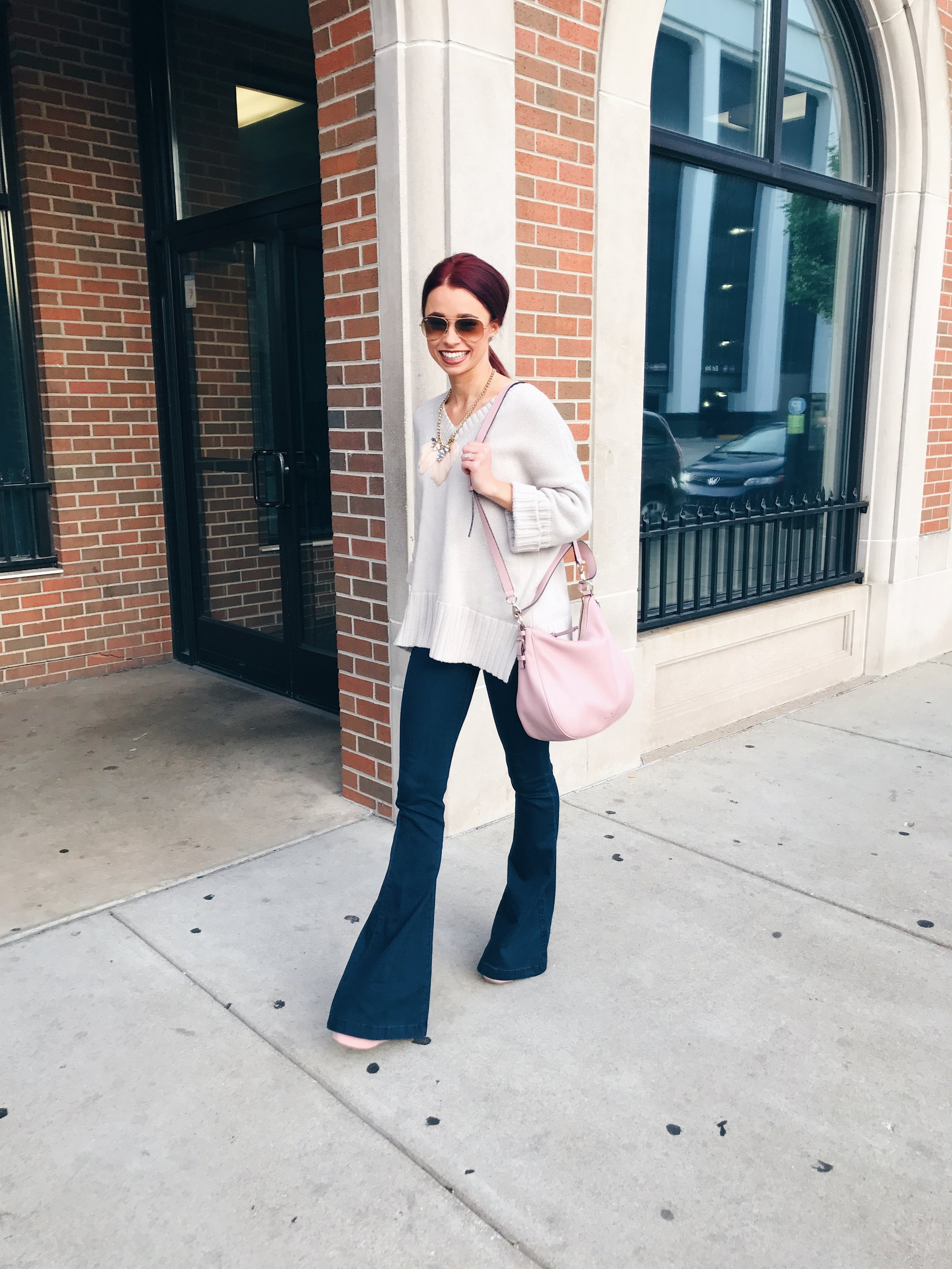 These flared jeans rock from Fira Boutique. I love them with a chunky sweater, but keep scrolling for a second option.