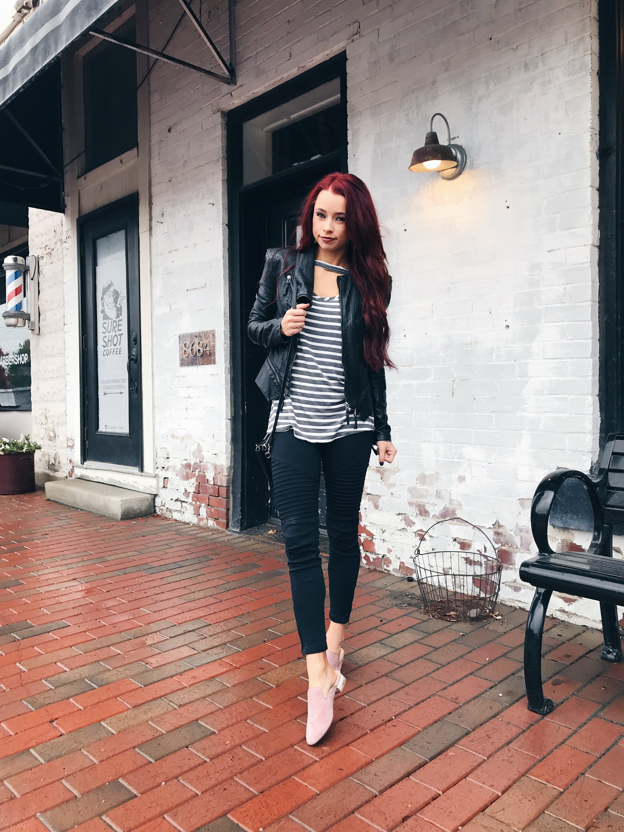 Hello striped top again! I told you guys, I just love stripes. I paired this one from  CCB  with my leather jacket,  moto leggings  from CCB, and my new favorite Steve Madden mules.