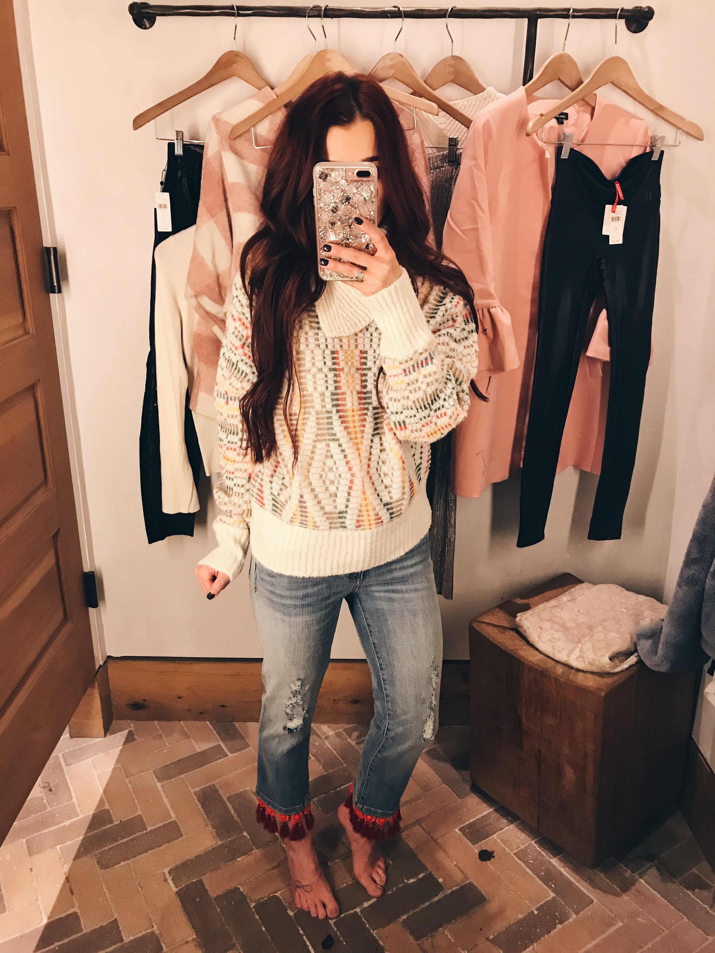This whole look is from Anthropology and I am considering this as my Thanksgiving outfit. Details will be on my Instagram soon, but in the meantime, check out the jeans and sweater.