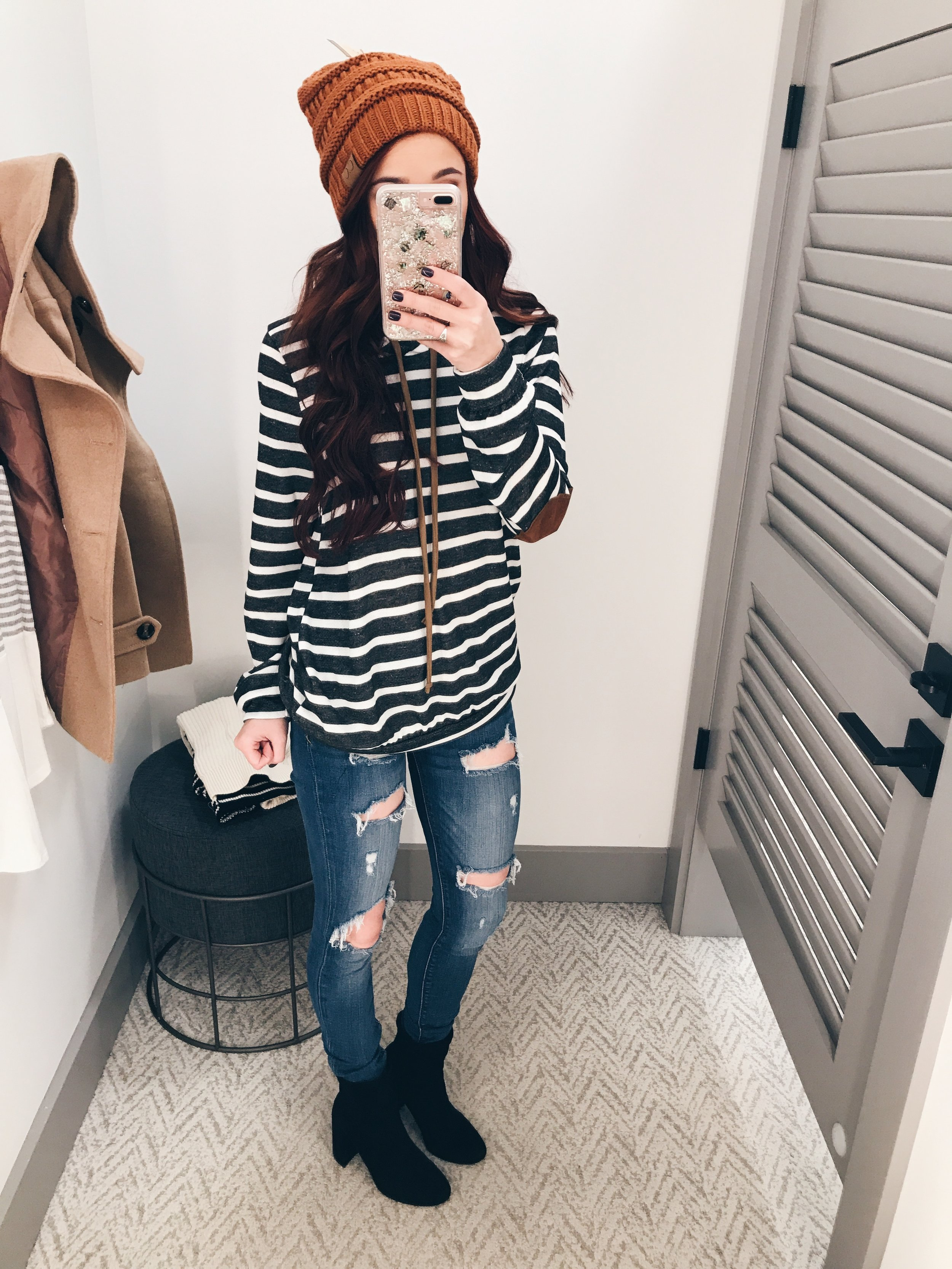 Striped are one of my favorite patterns. I love this piece with elbow pads from  Closet Candy . I paired it with my favorite distressed jeans from Express, a beanie, and black booties. My code at  CCB  is TRENDYCCB.