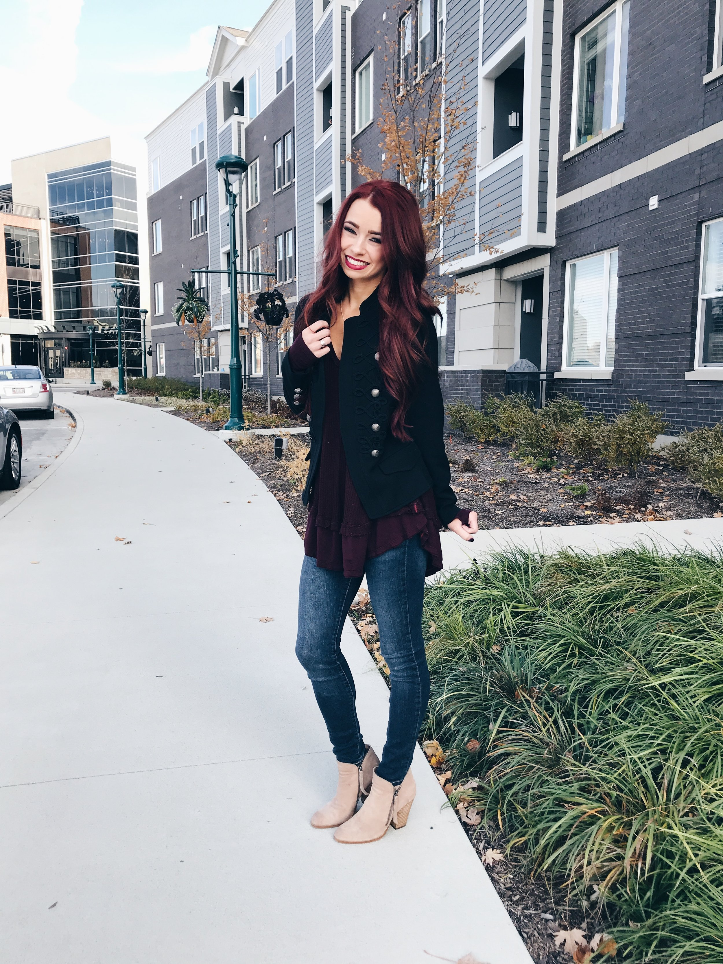 Black Jacket  ||  Burgundy Top  || Striped Top  here ,  here , and  here  ||  White Portofino Top  ||  Jeans  ||  Tan Booties  ||  Burgundy Booties  ||  Black Boots  ||  Blush Mules  (fave right now) ||