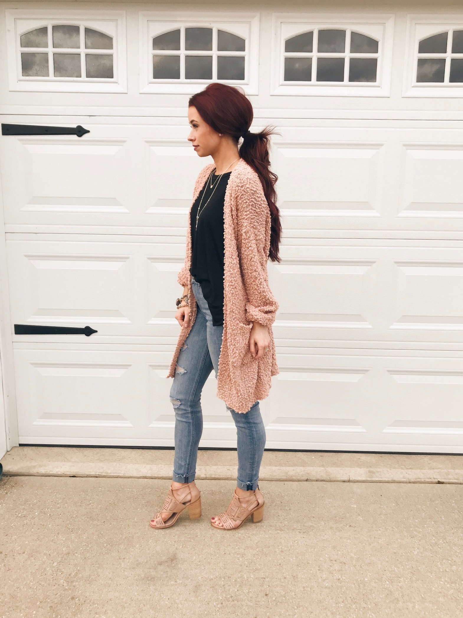 Sweater , Magnolia Boutique ||  Black Top . Magnolia Boutique ||  Blush Heels , Magnolia Boutique ||  Jeans , Express || Use the code TRENDY10 at checkout with Magnolia.