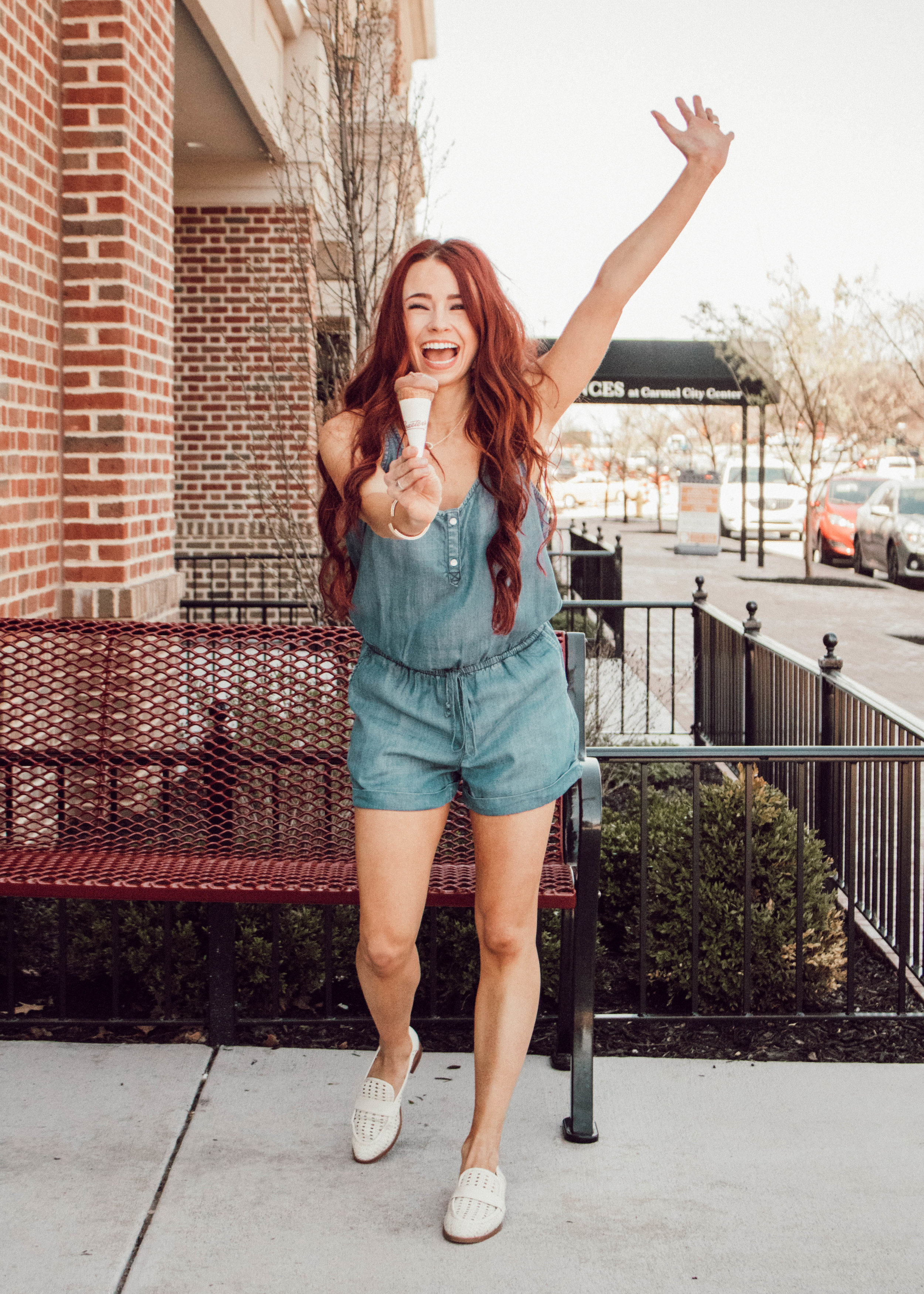 Chambray Romper , Shop Goldylox (TRENDY15) ||  Spring Loafers , DSW ||  Tiered Earrings