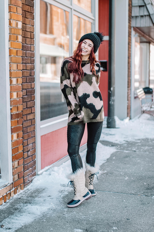 Camo Sweater,  Joelle + Co  ||  Denim , Evereve ||  Sorel Boots  ||  Taupe Booties  ||  Moto Leggings  ||  Black Beanie  ||  Ivory Beanie