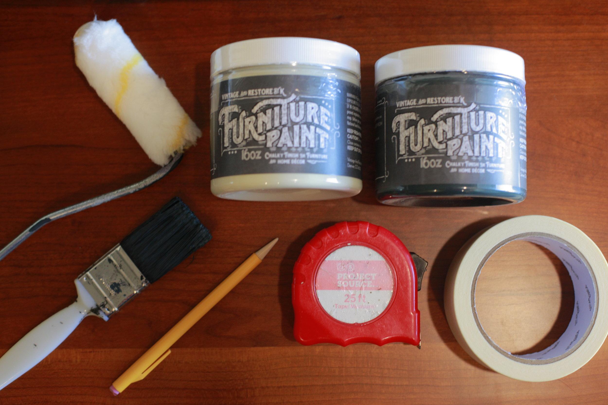 SUPPLIES:   - Paint (color: Almond Biscotti, Noir)  - Roller or Paint brush  - Pencil  - Measuring tape  - Painters tape