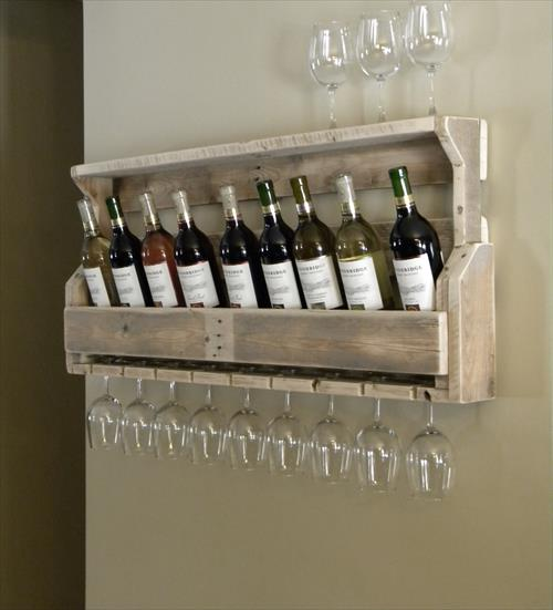 Project #2 DIY Pallet Wine Rack:   This is a simple wine rack made from the end section of a pallet. If you are a lover of wine, you will definitely make use of this rack especially for those who are in love with that rustic style.
