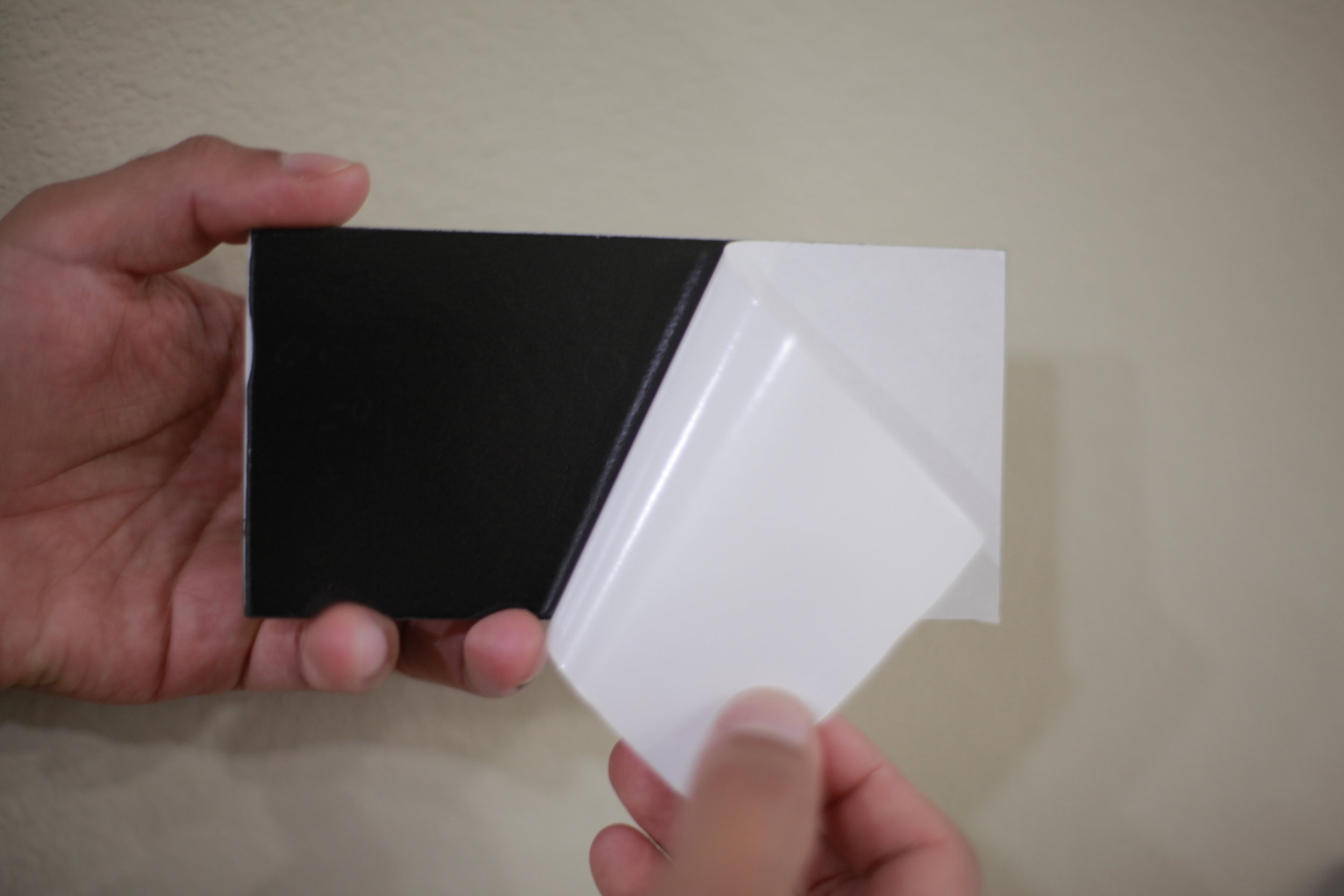Now you're ready to mount your tiles on the wall. Just peel and stick and don't panic! if you don't like the placement of the tile. Just remove the tile with a putty knife. simple and easy!