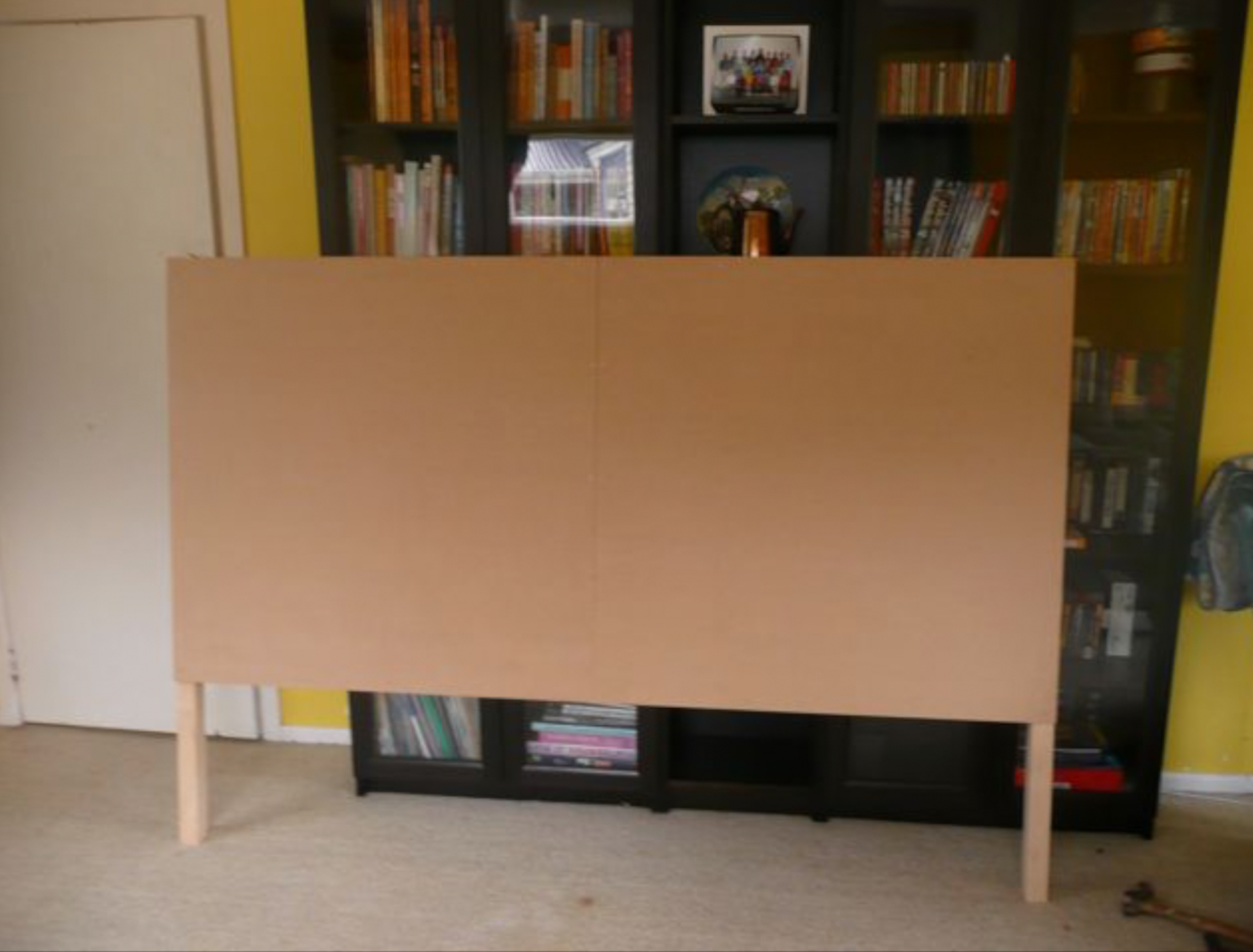 This project you will need plywood or MDF headboard. I made my headboard to fit a queen size. Here are the correct sizes, if you are wanting to make a king, twin or full.  King size: 78'' W x 56''H with legs, Queen size: 60'' W x 56'' H, Full size: 54'' W x 56'' H, Twin size: 39'' W x 56'' H