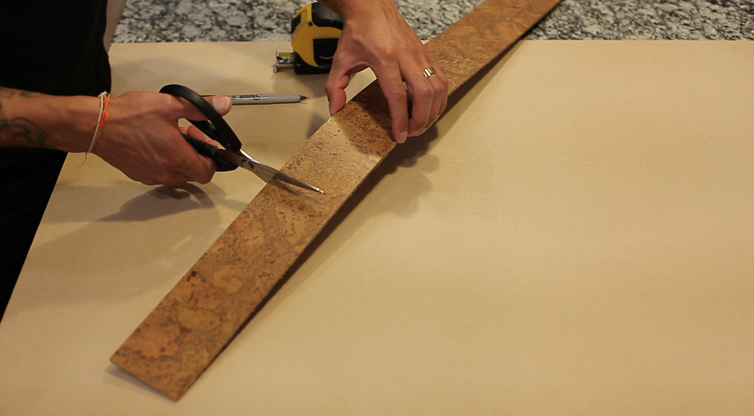 once you've marked your cork. Now, it's time to cut!