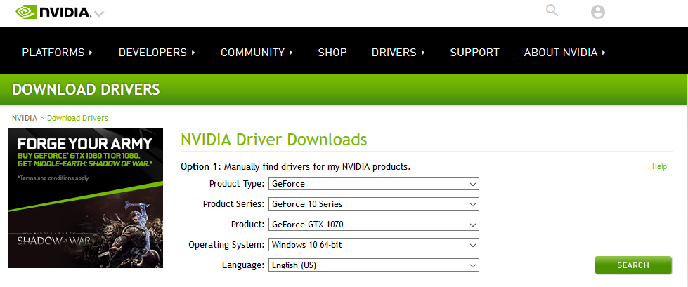 Navigate to  http://www.nvidia.com/Download/index.aspx  and locate your graphics card using the search boxes and click search