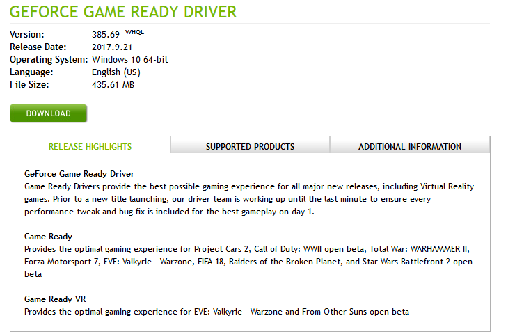 Download the driver provided by the Nvidia support page