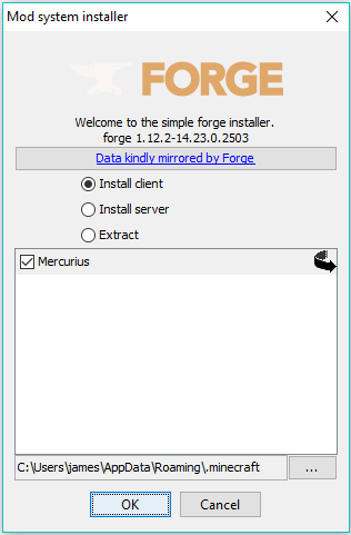 Change the Minecraft directory if needed and press OK