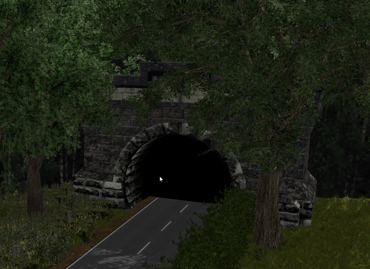 On the Lawfolds map the author uses tunnels to mask the end of the road. Shading the surrounding area with trees helps blend the tunnel into the surroundings.