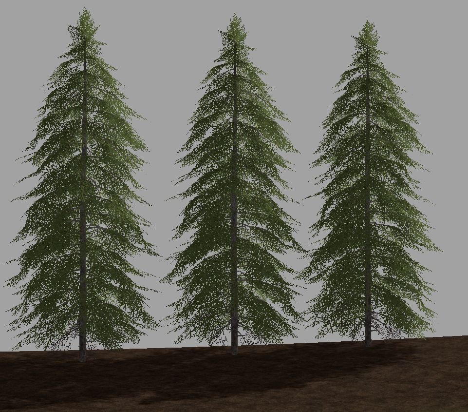 Three stage 4 spruce all at their default size