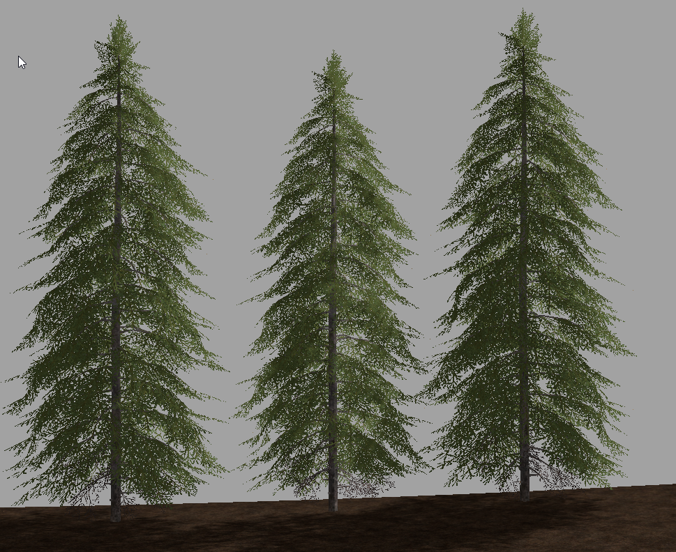 The same three stage 4 spruce, one at default size, one at 0.95x and one at 1.05x