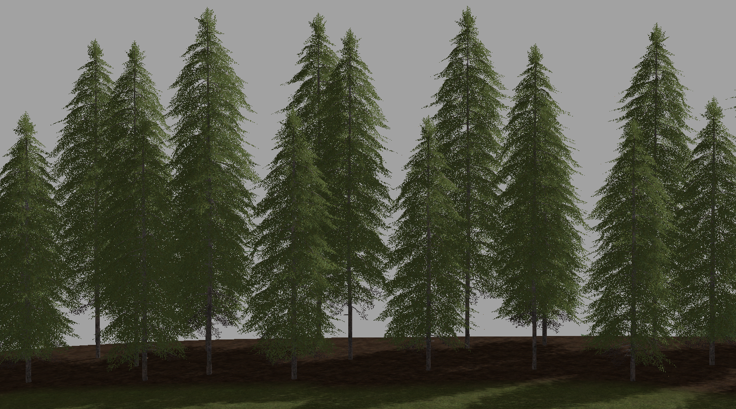 A mixture of stage 4 and 5 spruce using the above technique makes for a more realistic tree line.