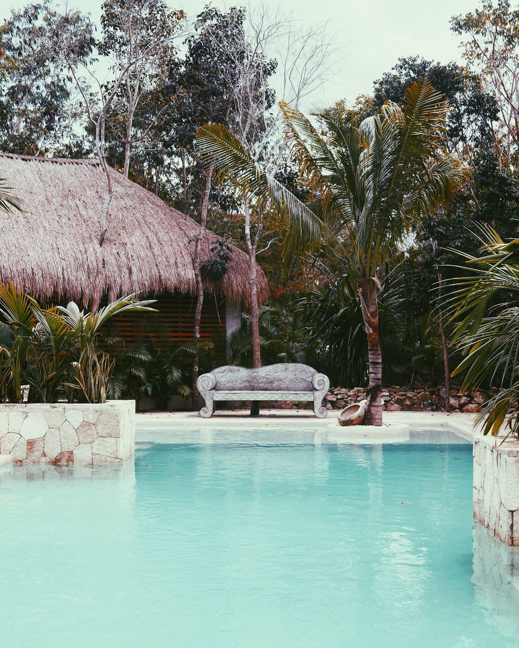 The pool area at Una Vida