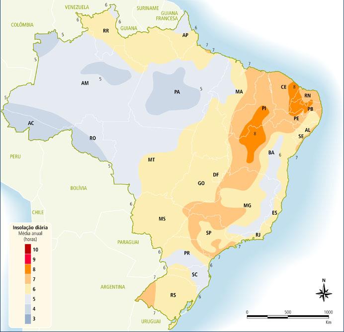 Mapa de insolação.Fonte: ANEEL, 2015