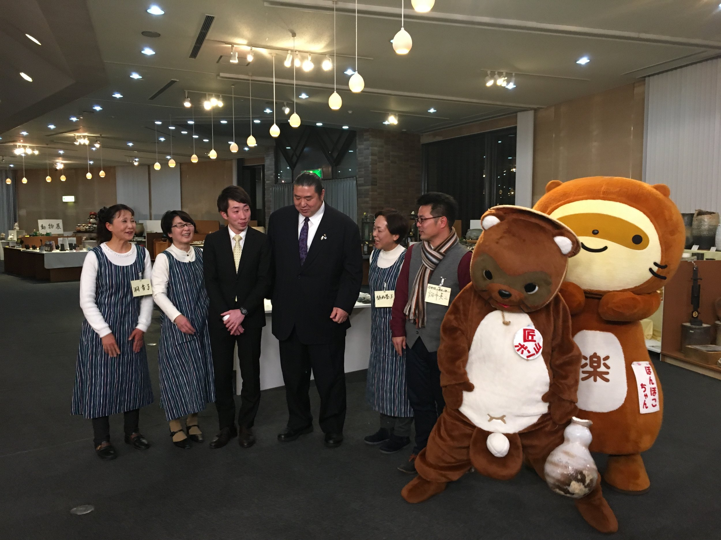 Sumo star with staff from SCCP and Tanuki.