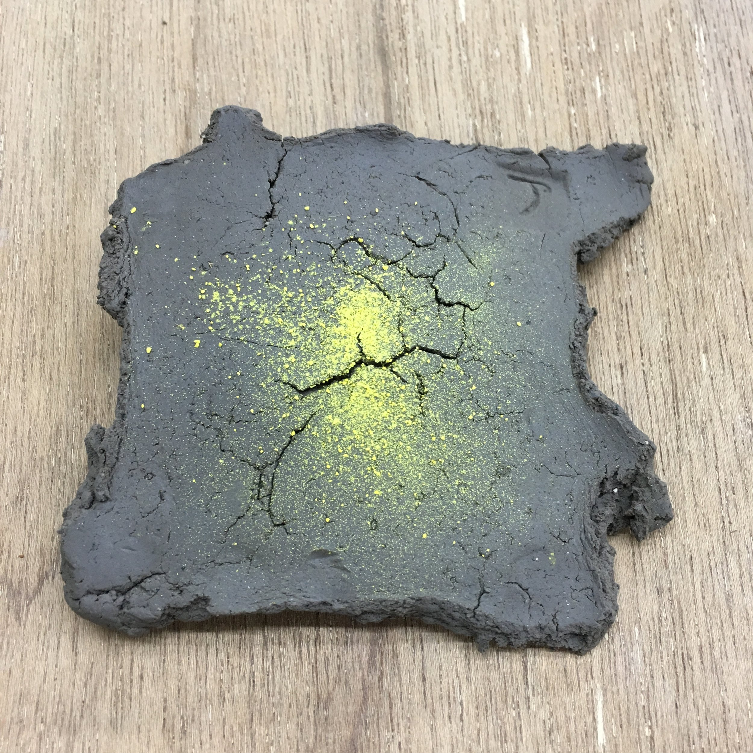 Much testing on Japanese clay begins - mainly to see if the natural fibres will fire ok. This is another theme based around the refining of uranium - 'yellow cake'.
