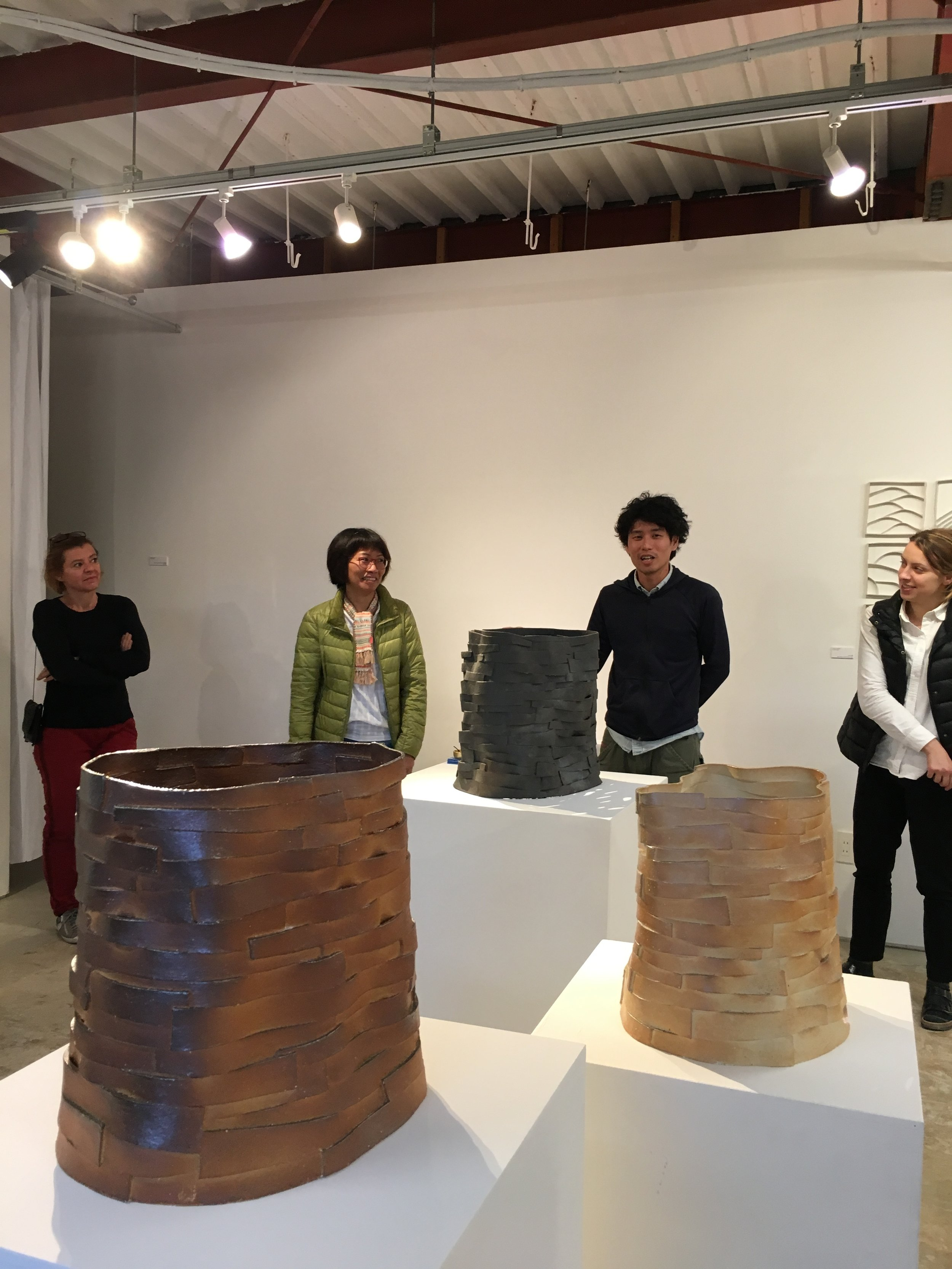 Sita's wood fired pieces in the gallery.