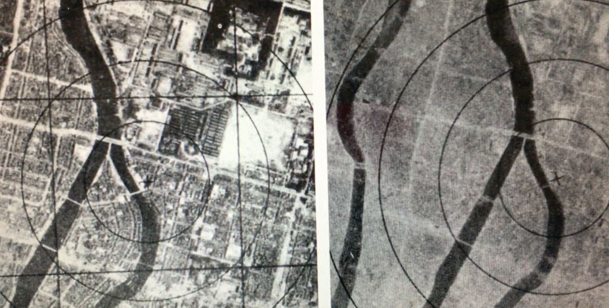 Recurring motifs - Hiroshima, before and after. (Photo US National Archives).