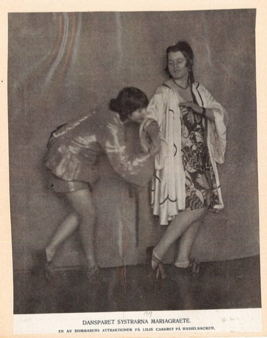 Beatrice (left) and her sister Primavera from a Swedish dance programme in 1919. ( Reference: Press cuttings, Dance, The Music and Theatre Library of Sweden).