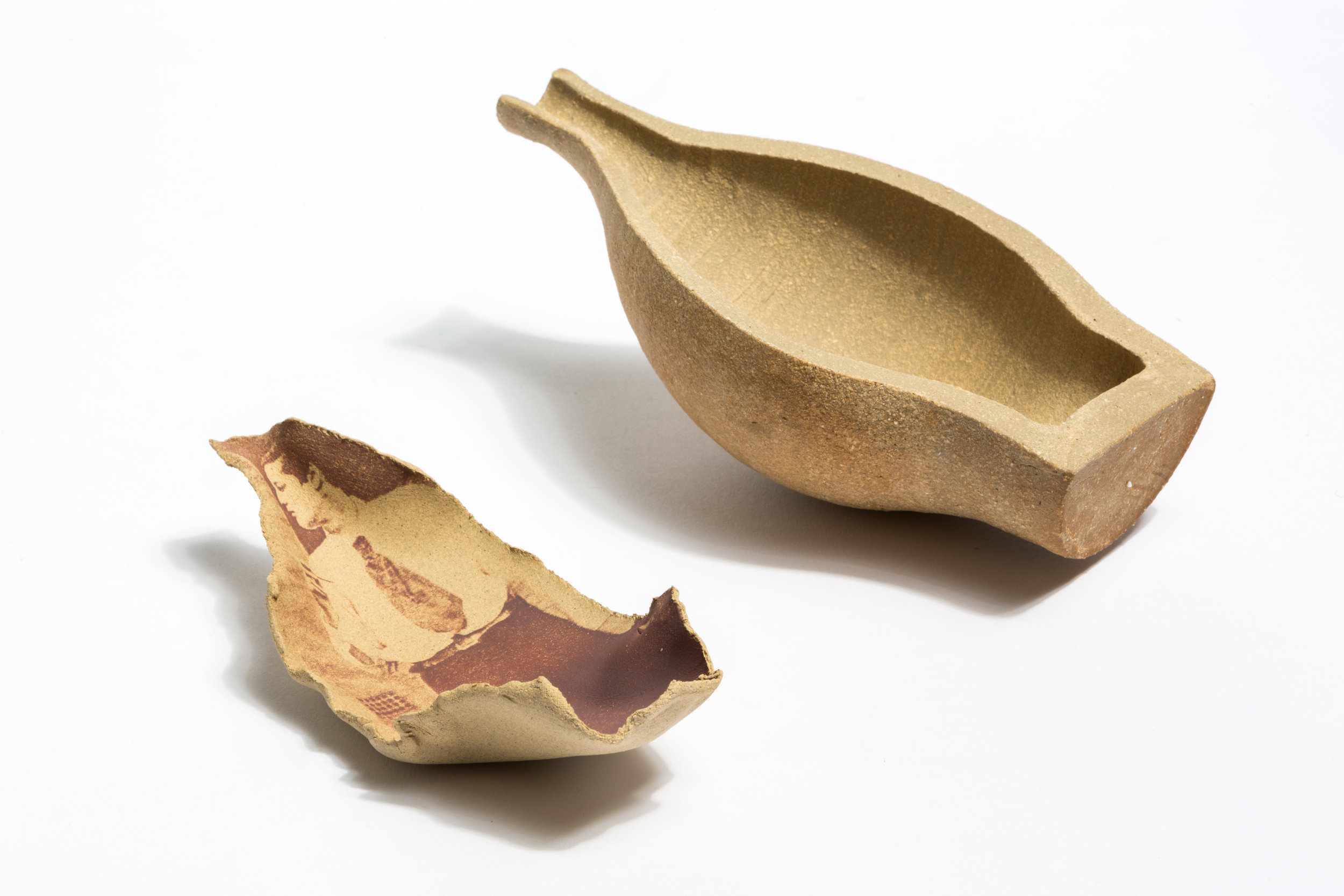 Inured, 2015, 21 x 20, Ceramic vessel and photocopy print.