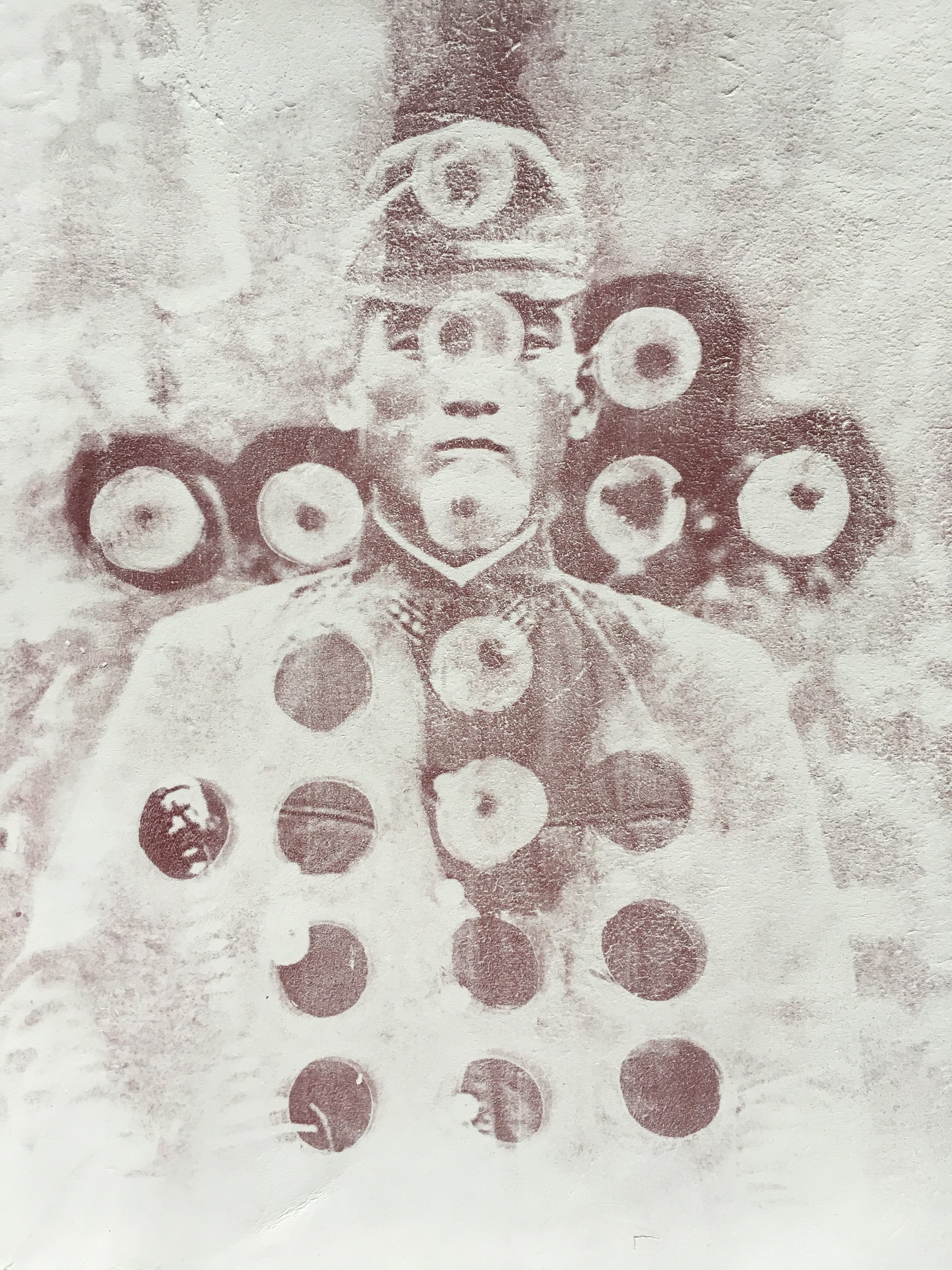 Shining Officer, 2018, photocopy print on clay.