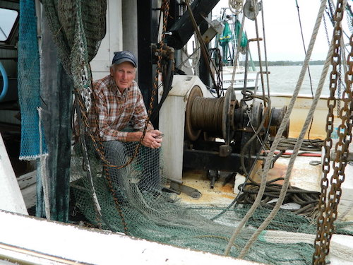 Buddy Davis on his trawler at Davis Seafood, Sneads Ferry, NC