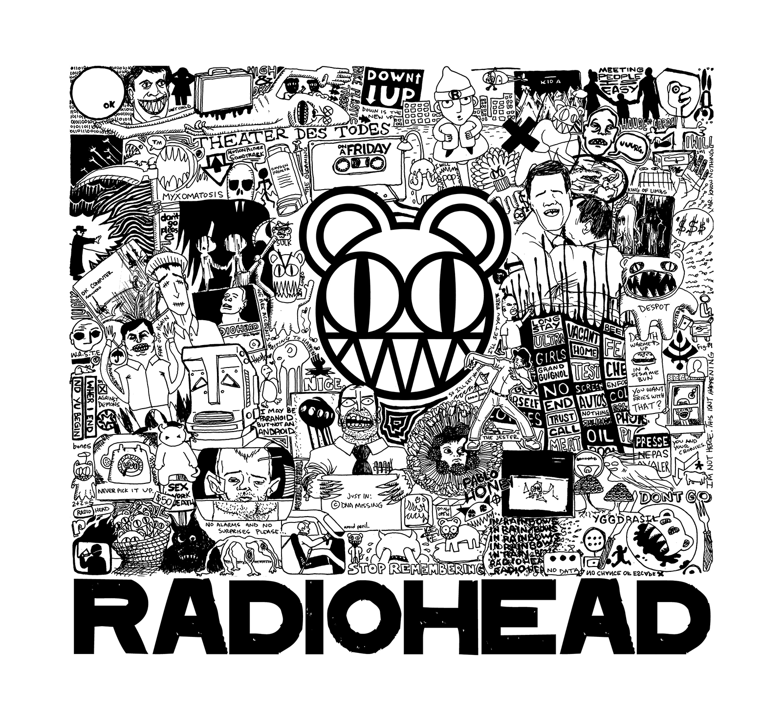 Poster art and limited-edition print for Radiohead tribute show in Bakersfield, CA.