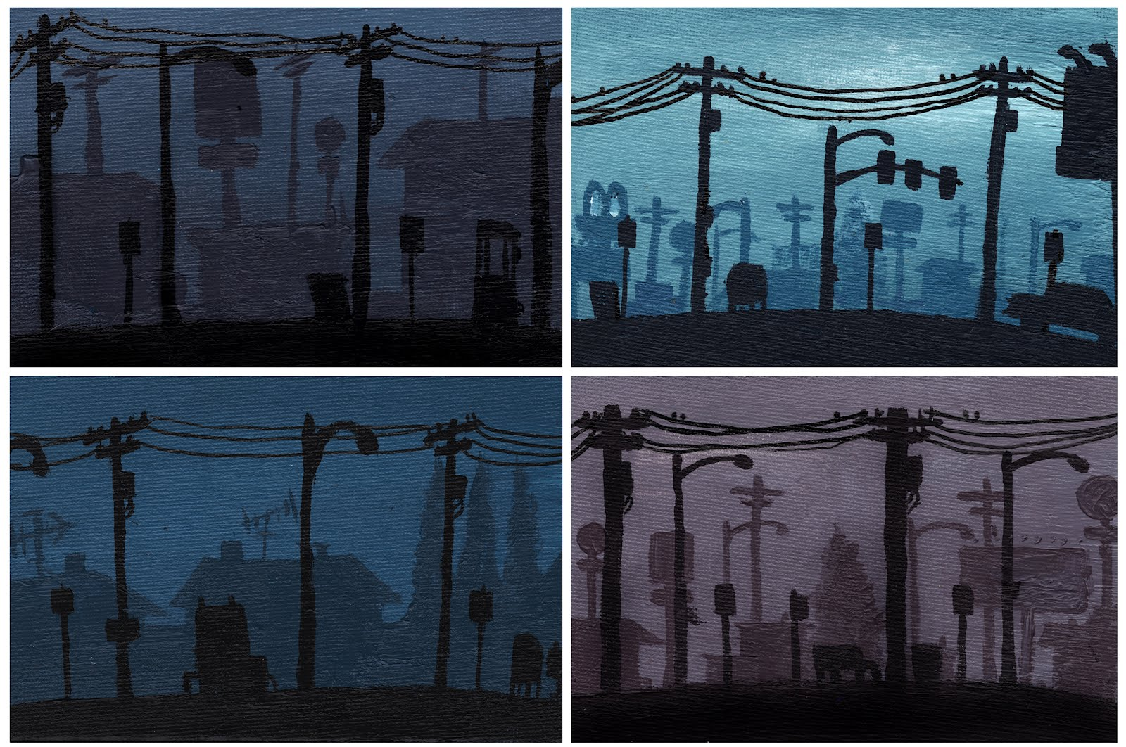 """One-of-a-kind 5"""" x 7"""" atmospheric perspective acrylic paintings."""