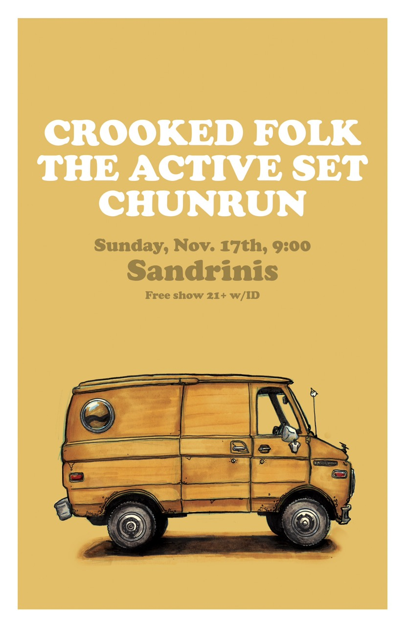 Promotional poster for Crooked Folk, a band from Bakersfield, CA.