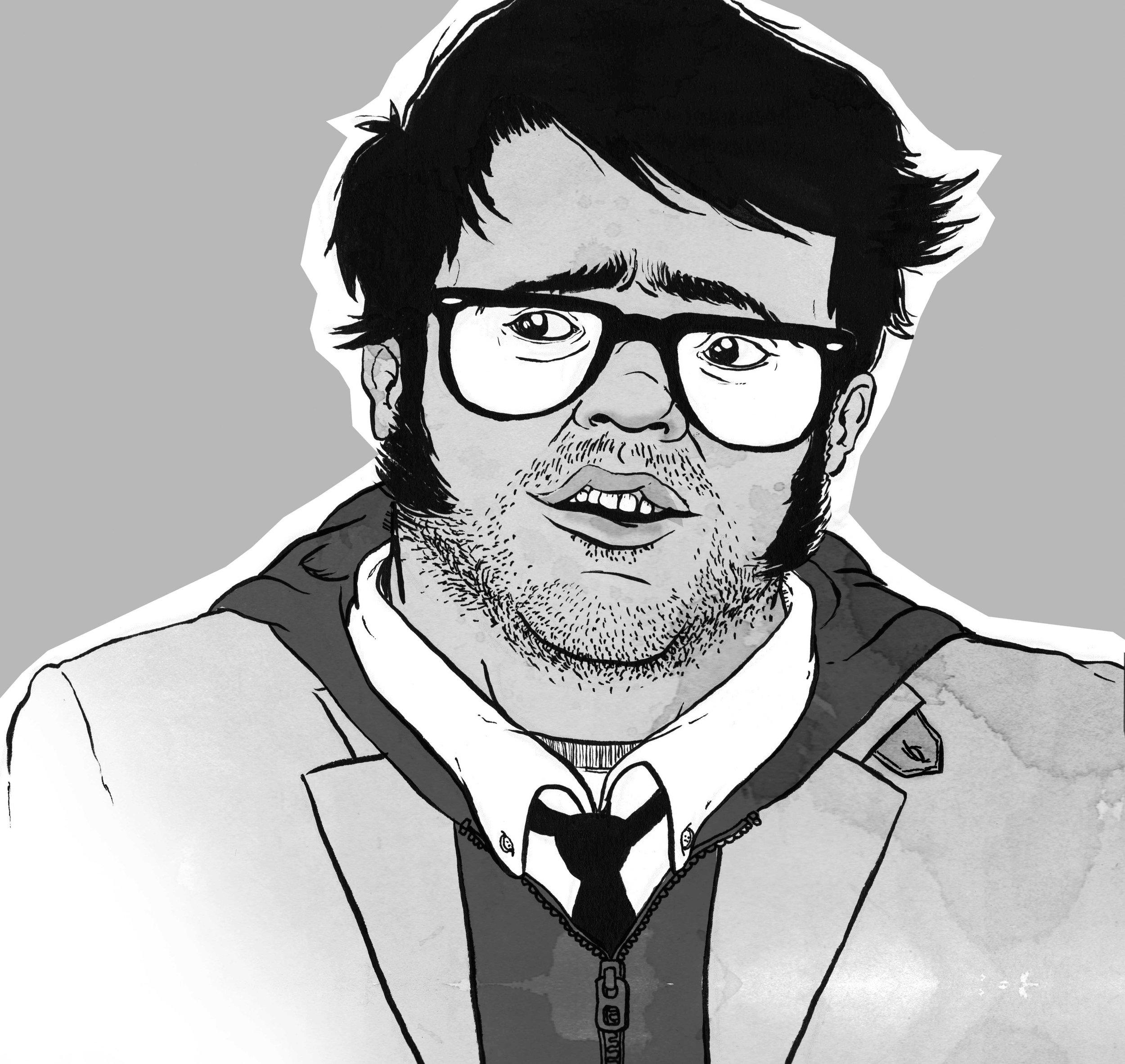 Self-portrait? Or sexy buff-boy illustration? You decide.