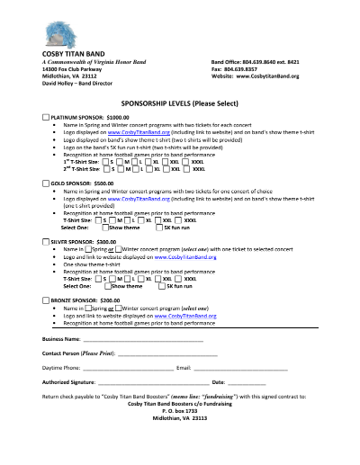 2019 Sponsor Contract Form