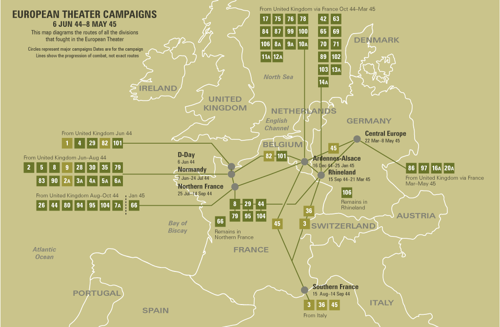 European Theater in World War II — US Army Divisions on