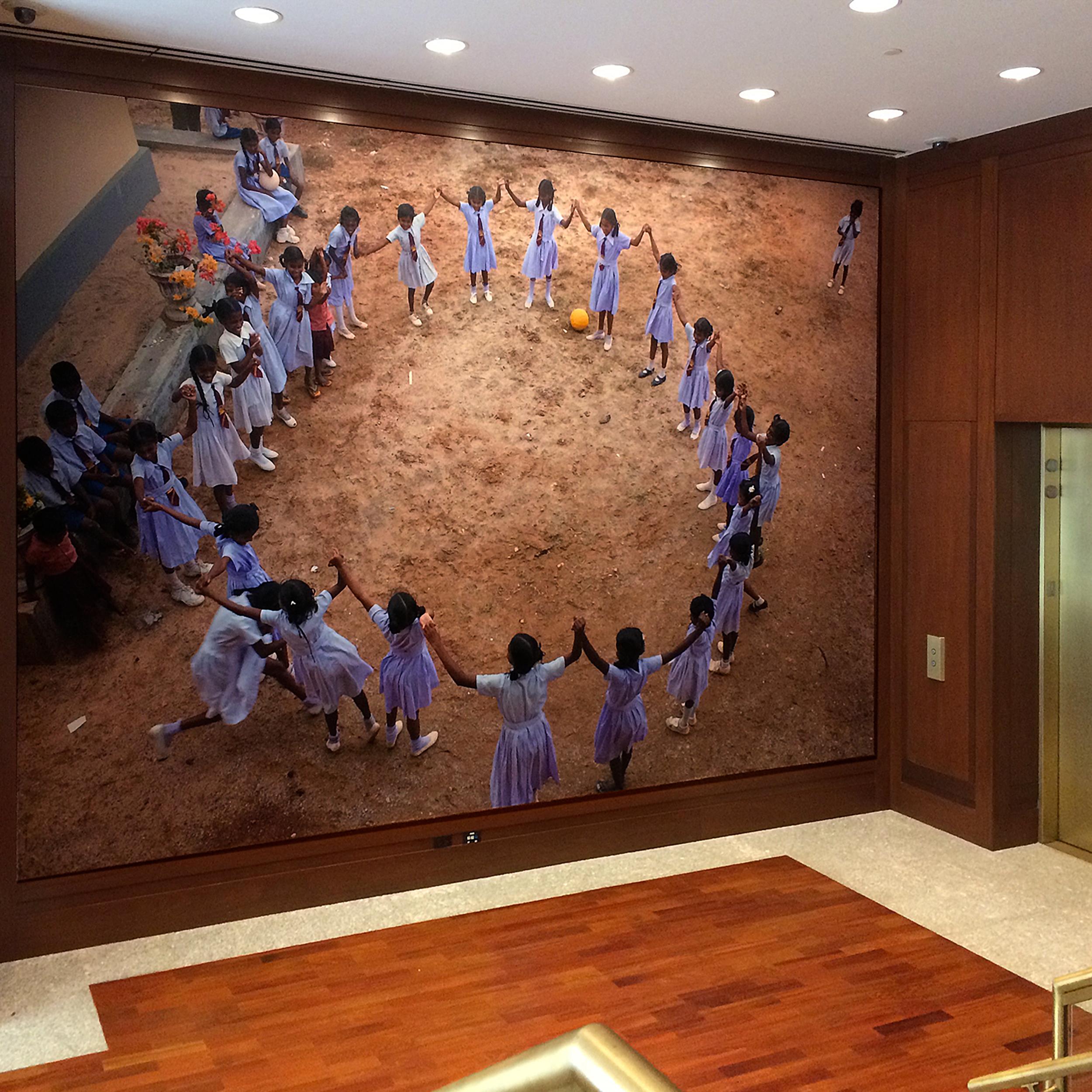 22ft x 15ft school children image at rear lobby elevator banks